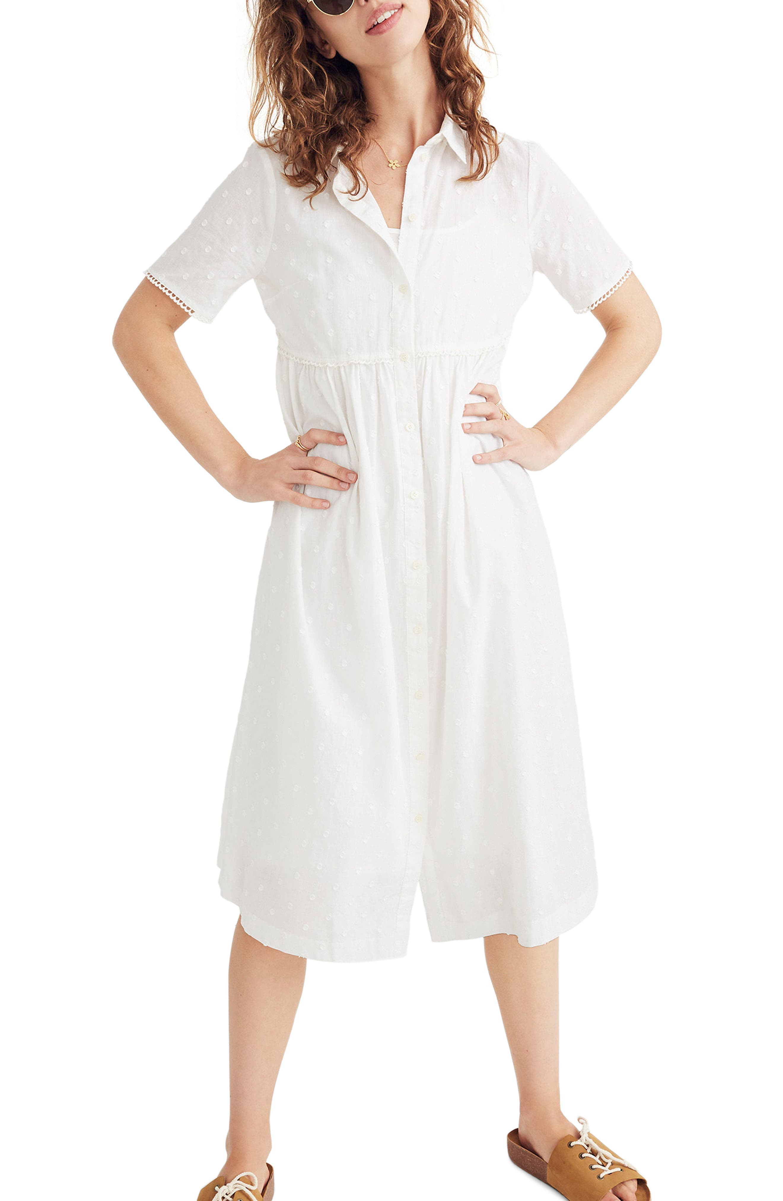 Clipdot Midi Shirtdress,                             Main thumbnail 1, color,                             EYELET WHITE