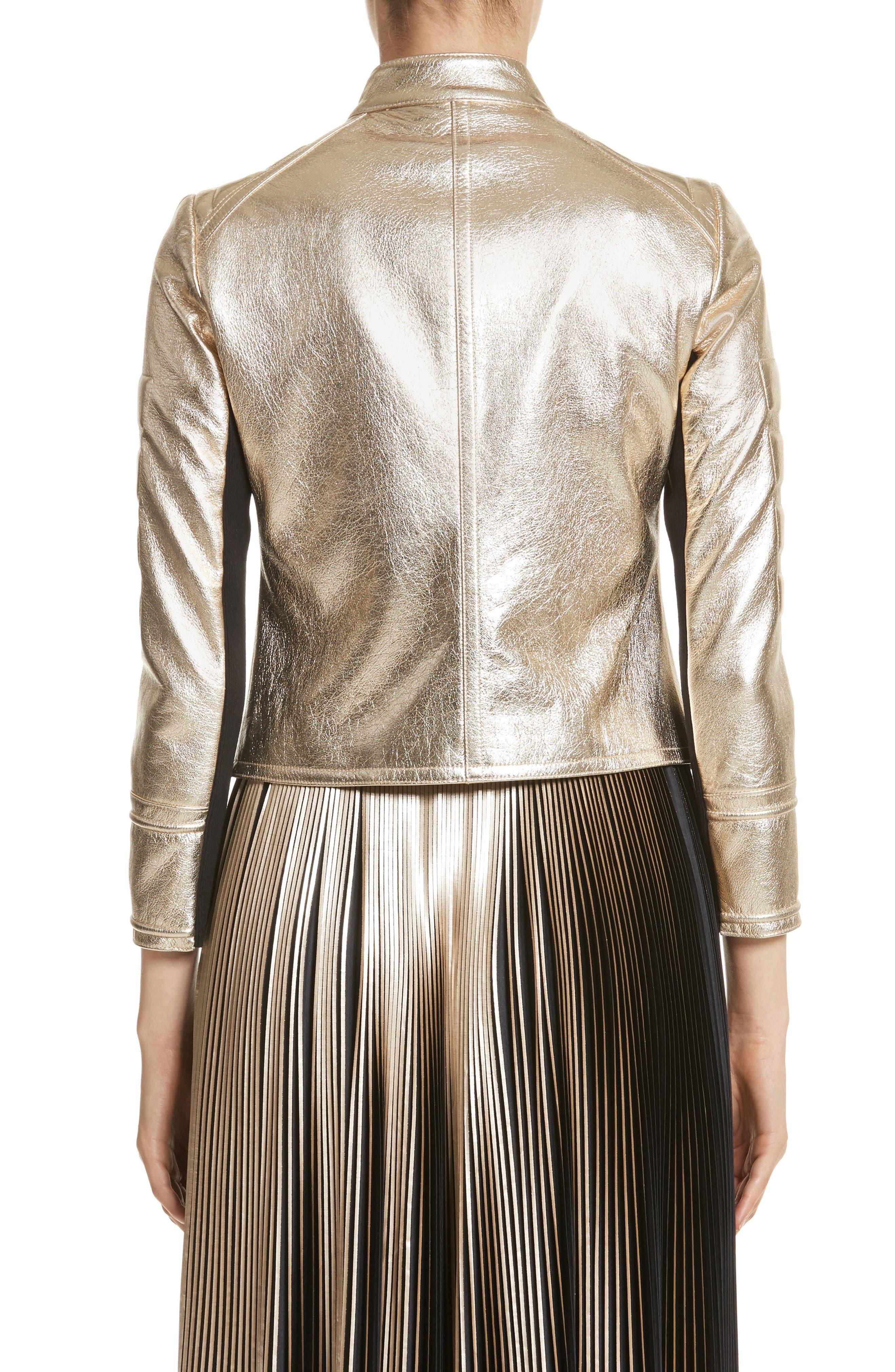 Foiled Metallic Leather Moto Jacket,                             Alternate thumbnail 2, color,