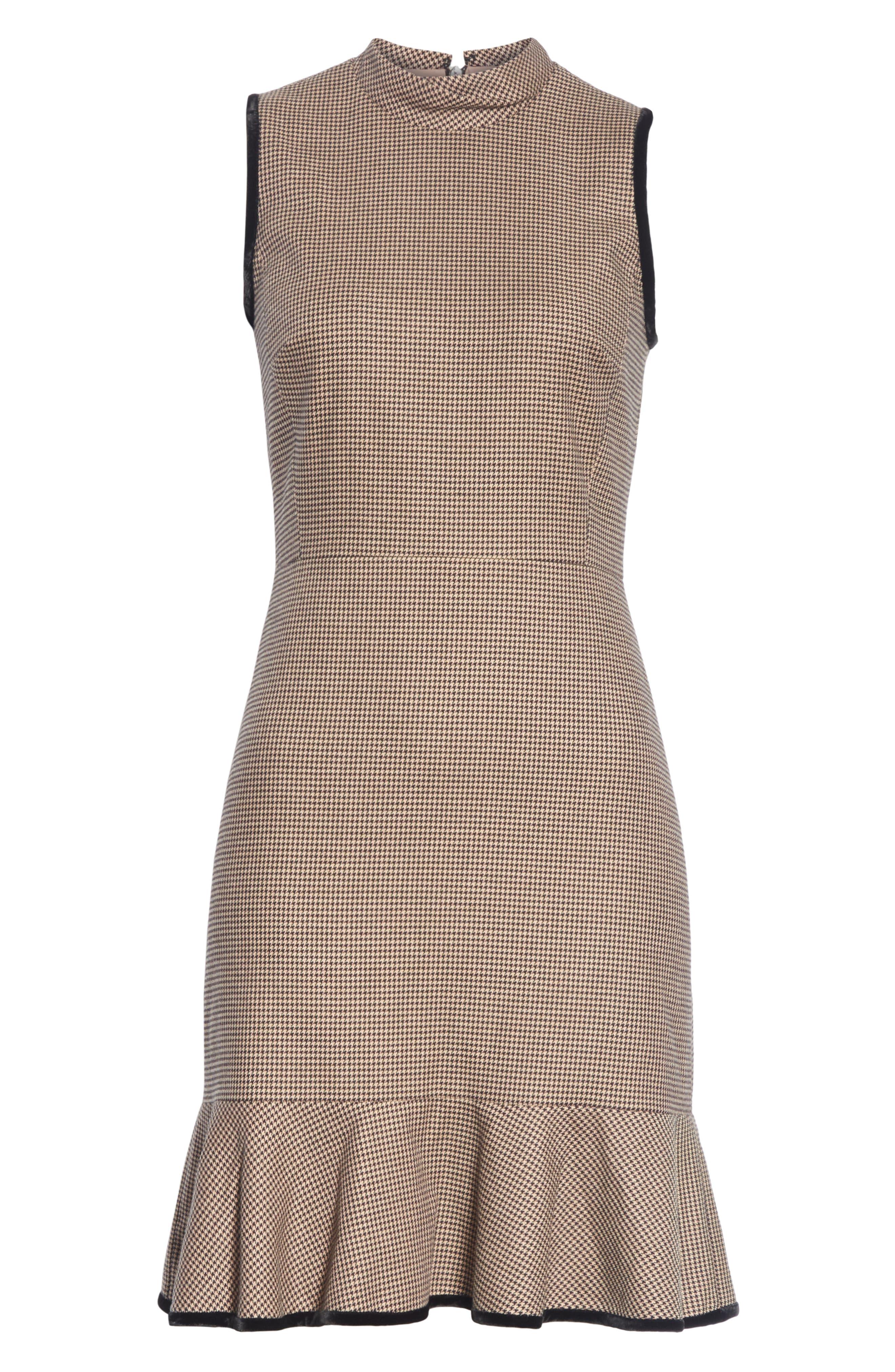 Houndstooth Sheath Dress,                             Alternate thumbnail 6, color,                             CAMEL/ BLACK