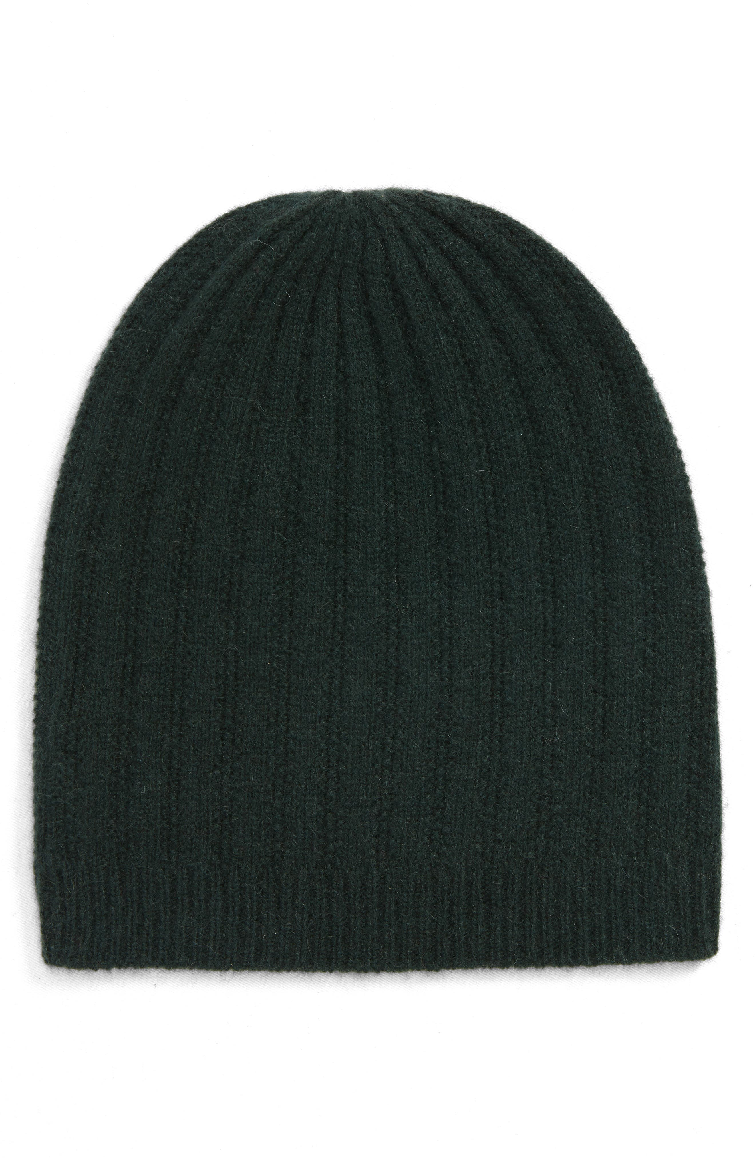 Halogen Ribbed Cashmere Beanie - Green