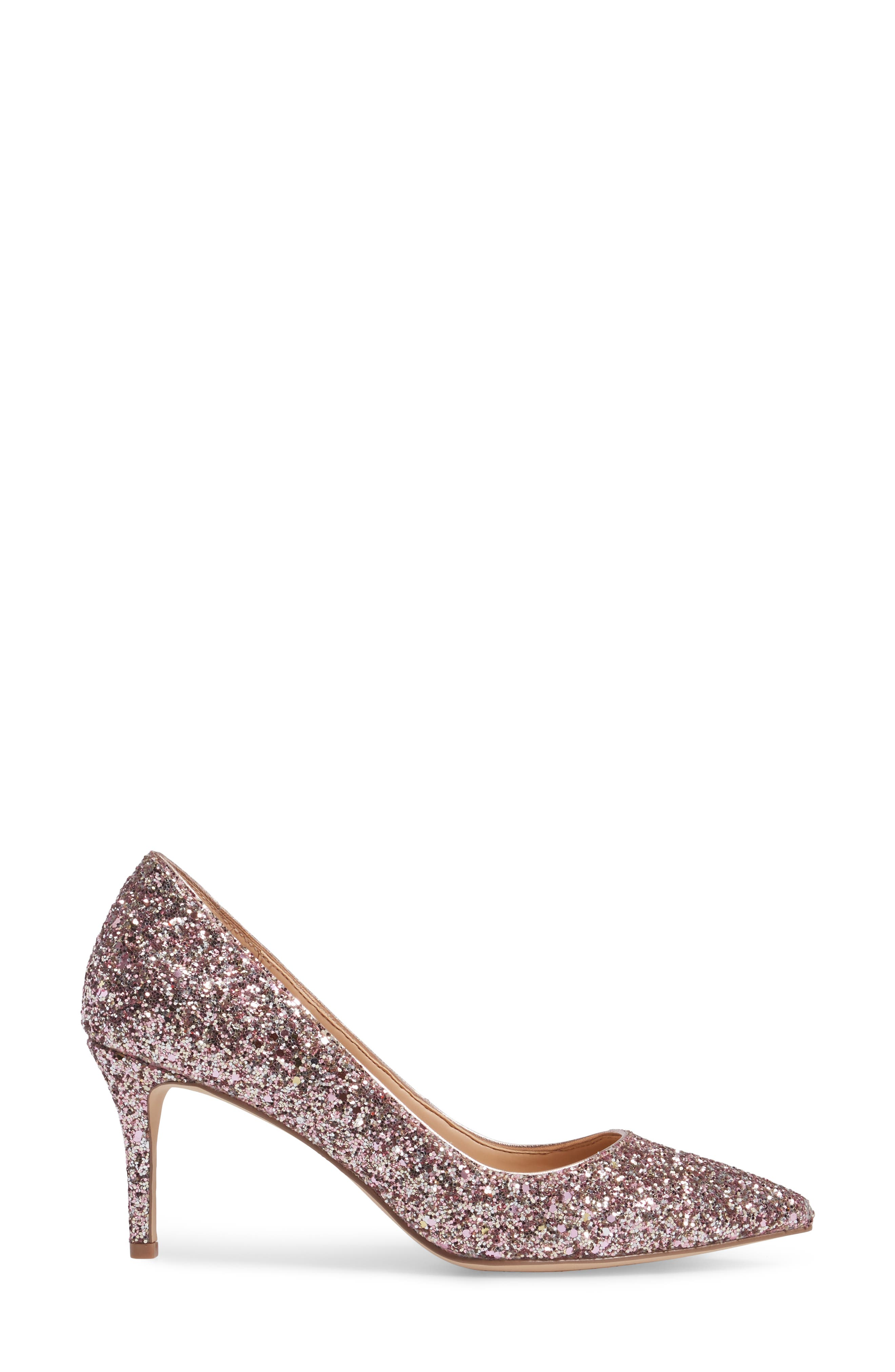 Lyla Glitter Pointy Toe Pump,                             Alternate thumbnail 3, color,                             ROSE GOLD