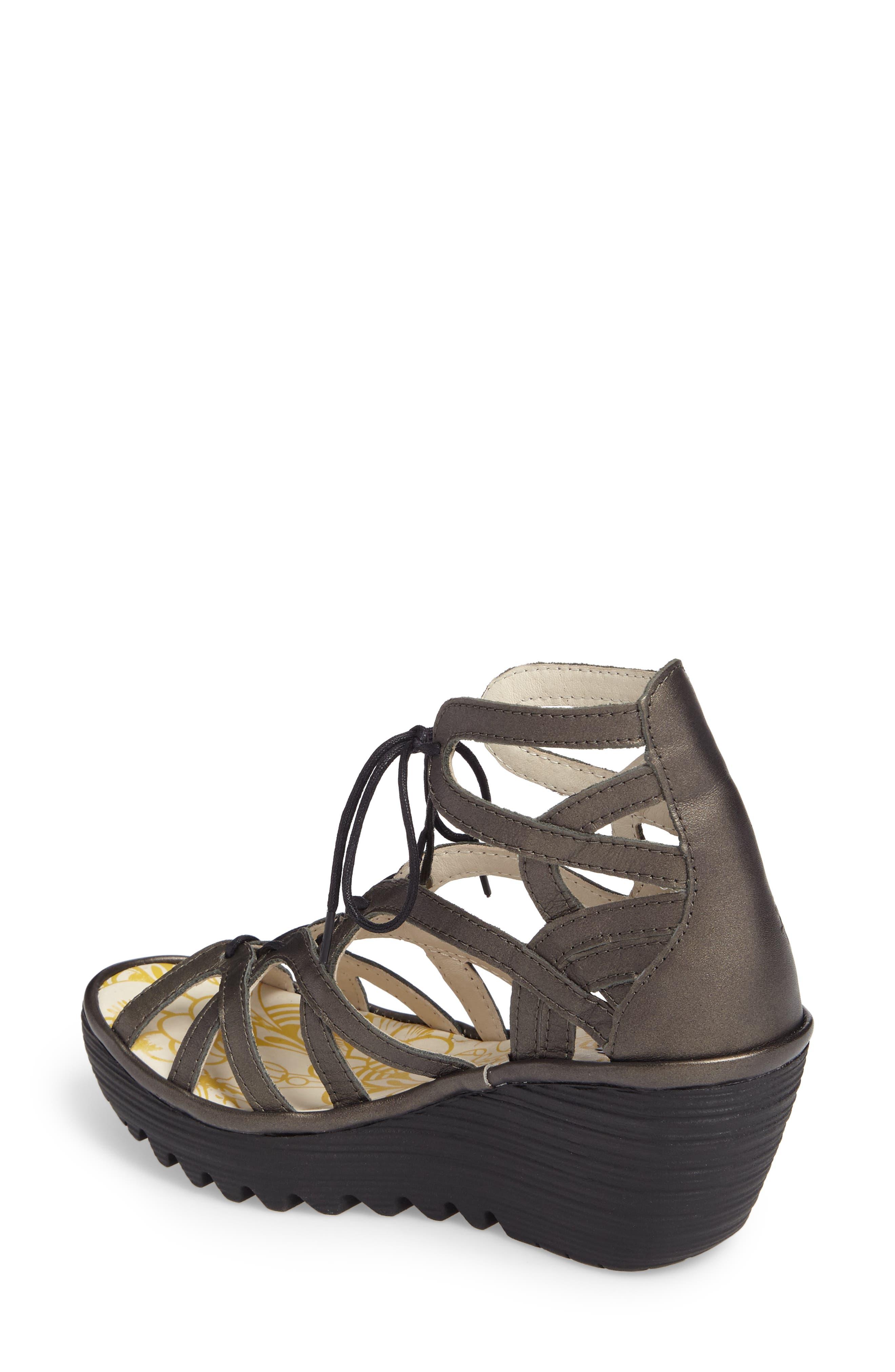'Yuke' Platform Wedge Sandal,                             Alternate thumbnail 2, color,                             ANTHRACITE LEATHER