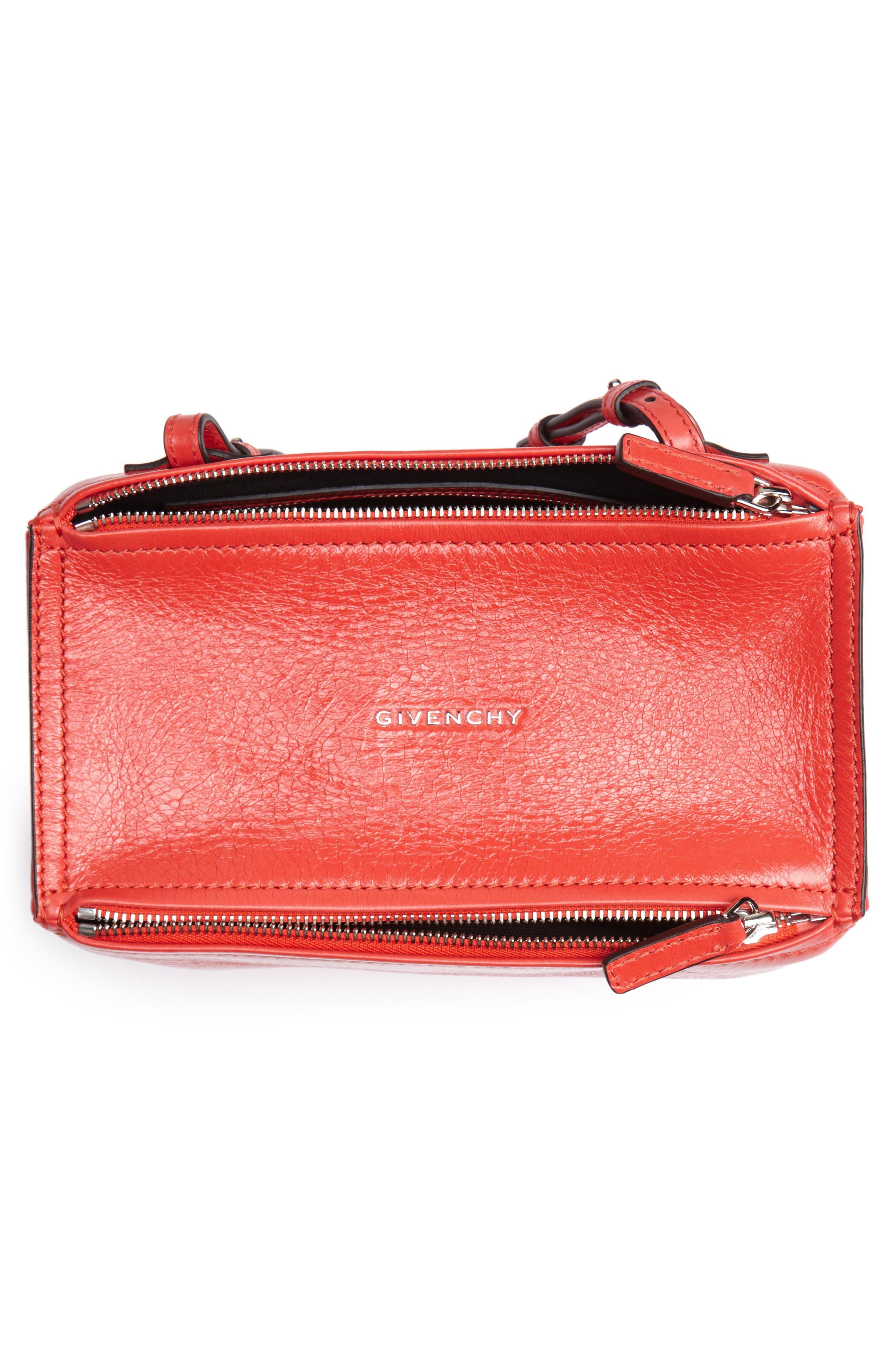 Mini Pandora Glazed Leather Shoulder Bag,                             Alternate thumbnail 4, color,                             POP RED