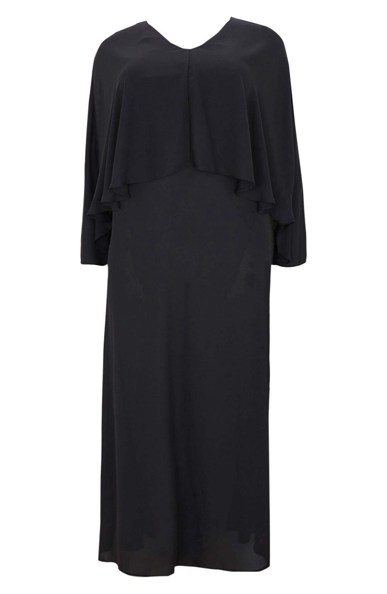 Overlay Maxi Dress,                             Alternate thumbnail 4, color,                             012