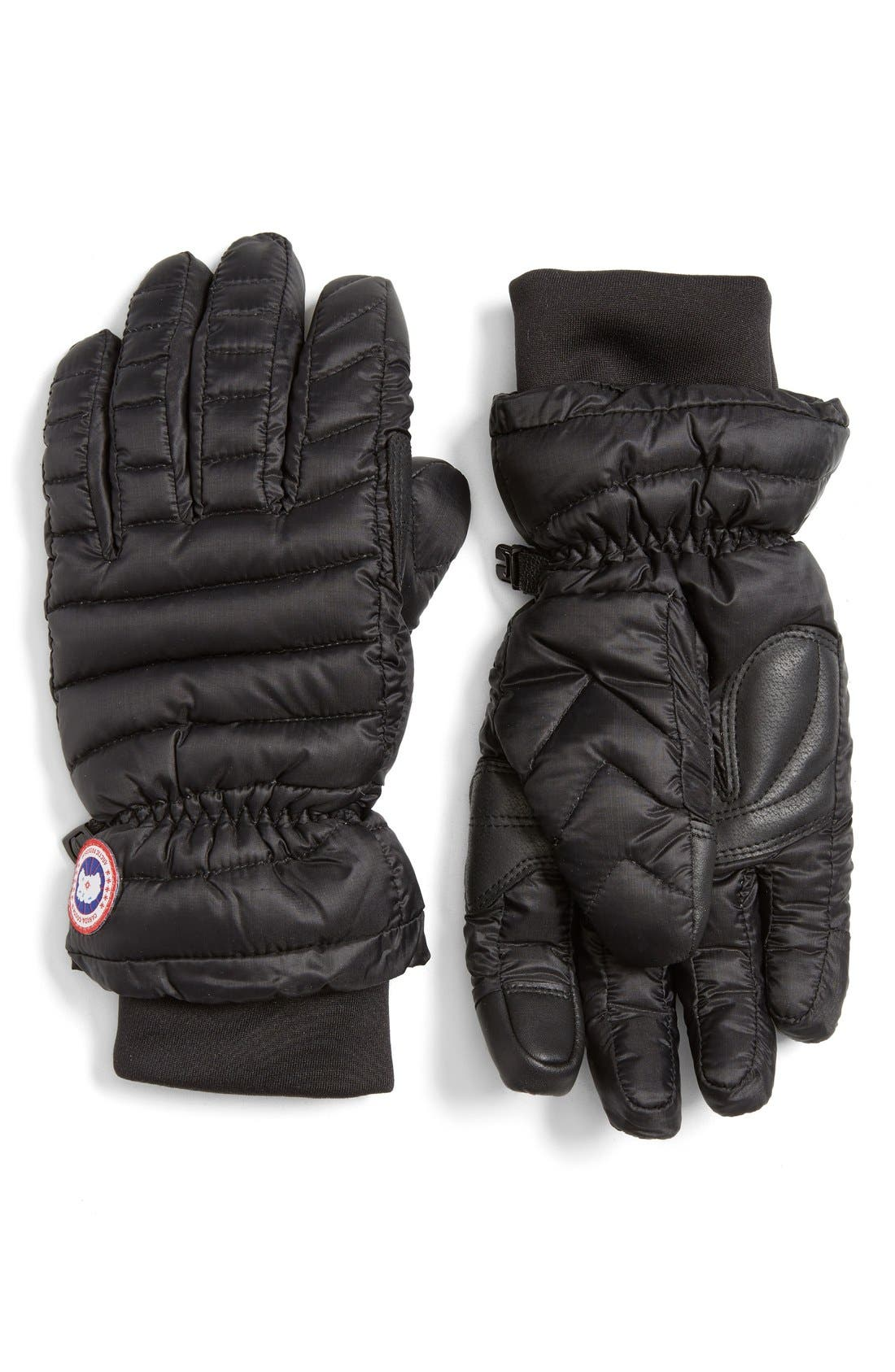 Lightweight Quilted Down Gloves,                             Main thumbnail 1, color,                             BLACK