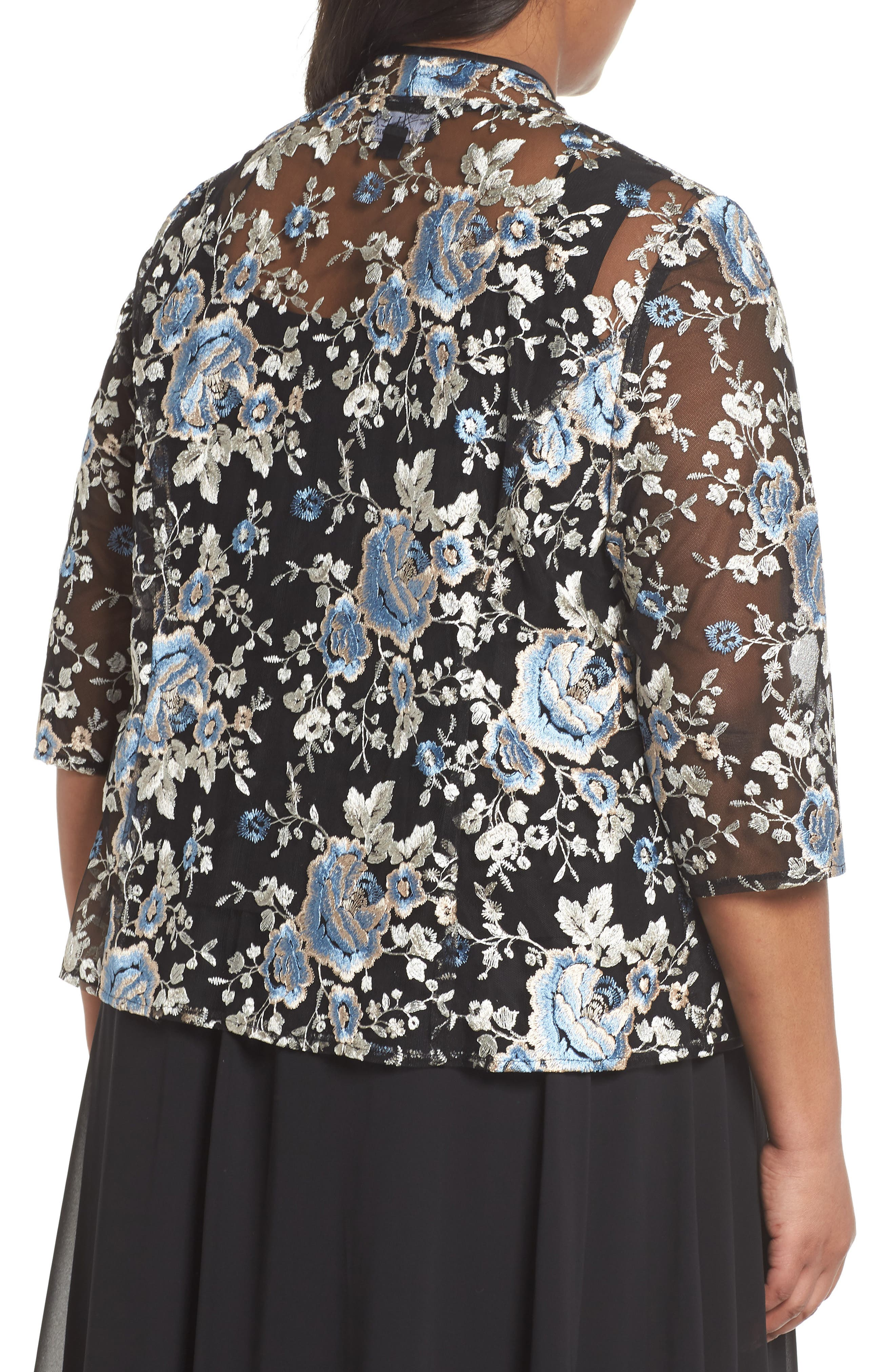 Floral Embroidered Twinset,                             Alternate thumbnail 2, color,                             BLUE MULTI