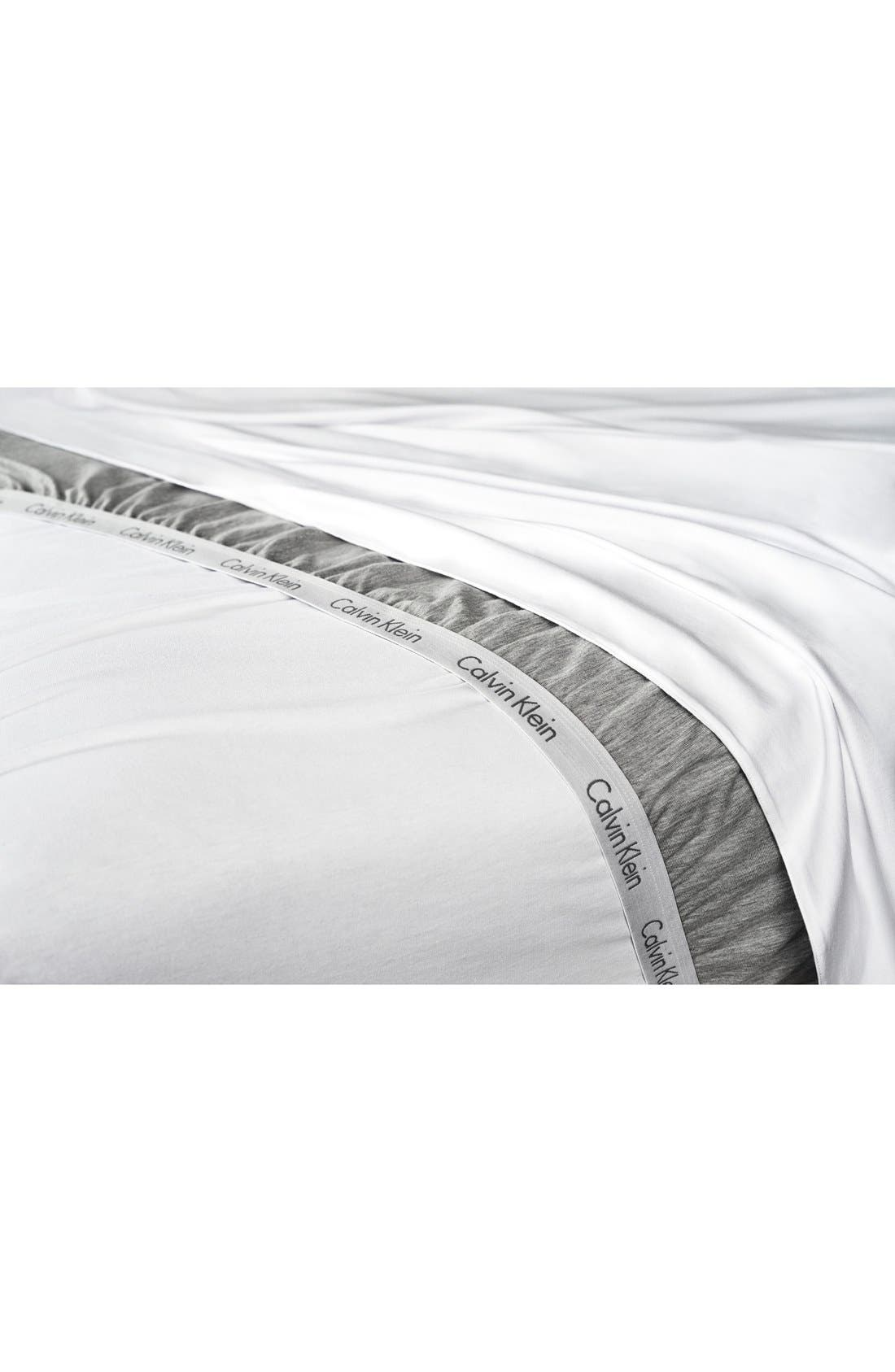 Modern Cotton Collection Cotton & Modal Fitted Sheet,                             Alternate thumbnail 3, color,                             WHITE