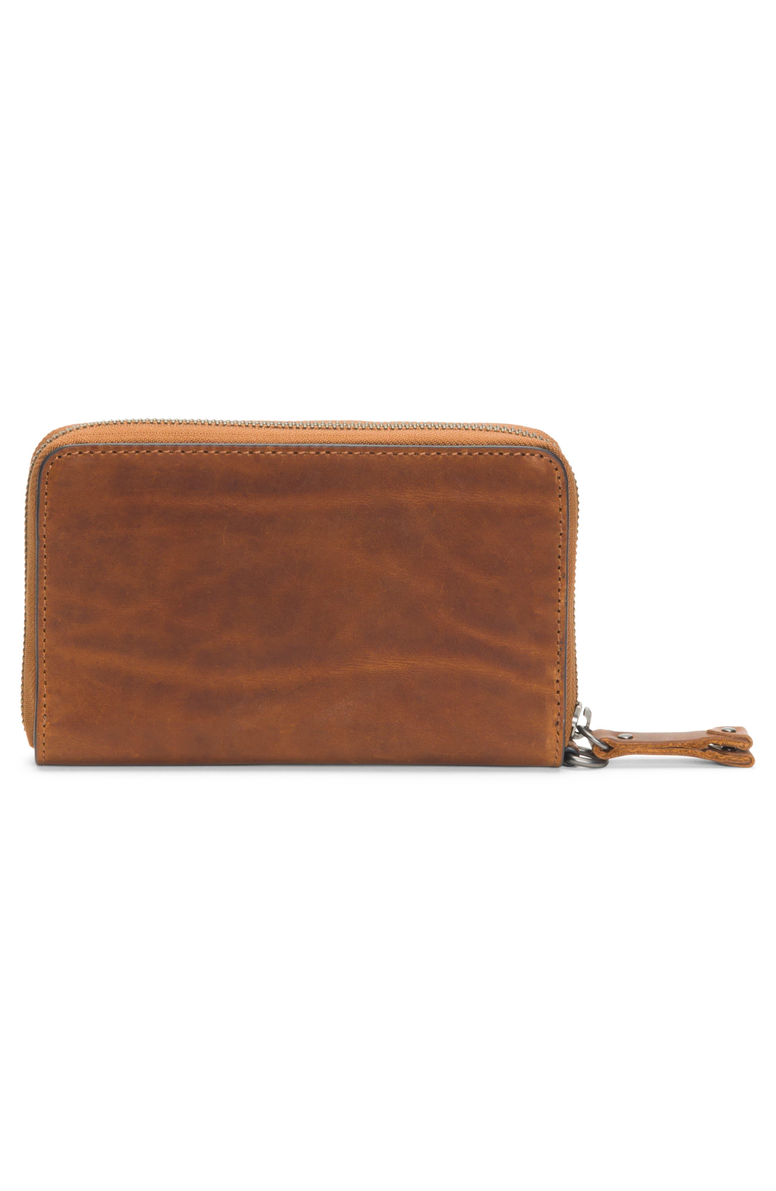 Melissa Large Leather Phone Wallet,                             Alternate thumbnail 3, color,                             COGNAC