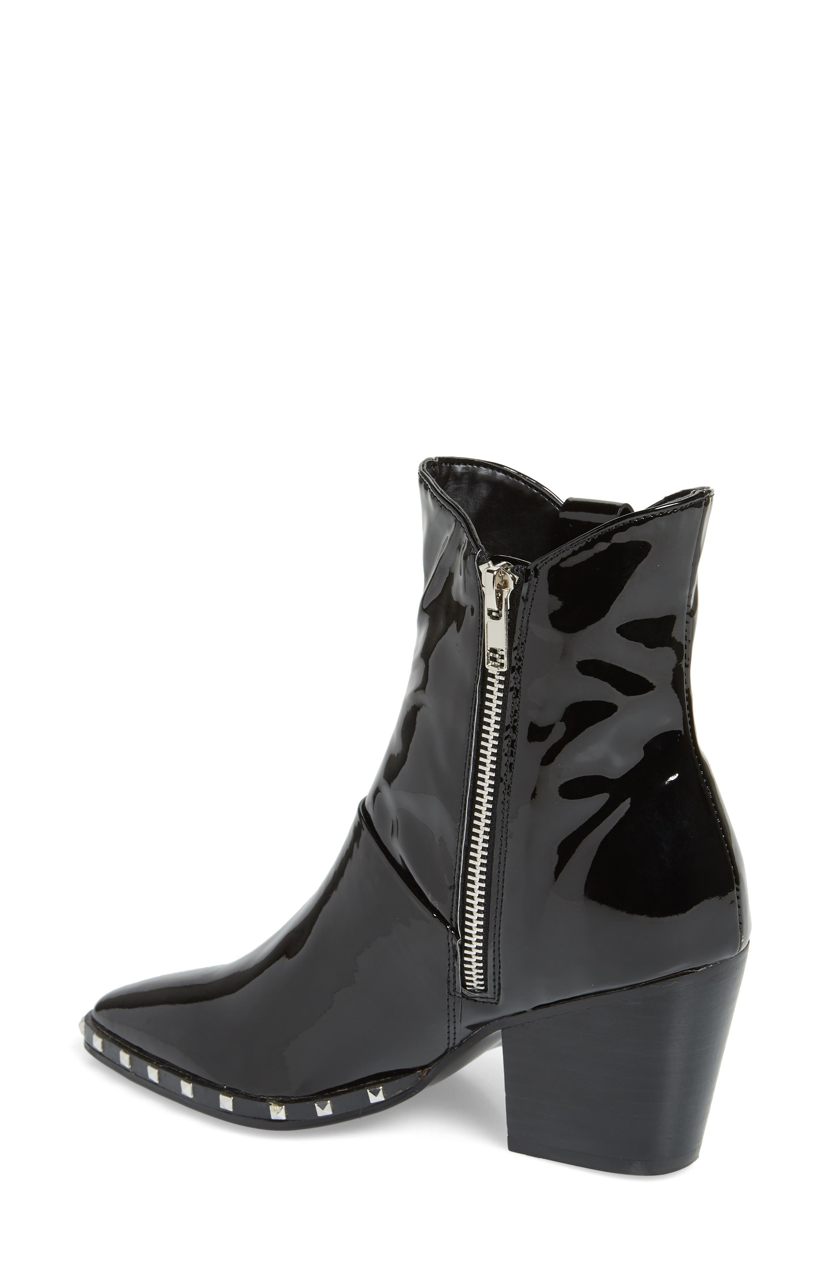 Haines Studded Bootie,                             Alternate thumbnail 2, color,                             MIDNIGHT PATENT LEATHER
