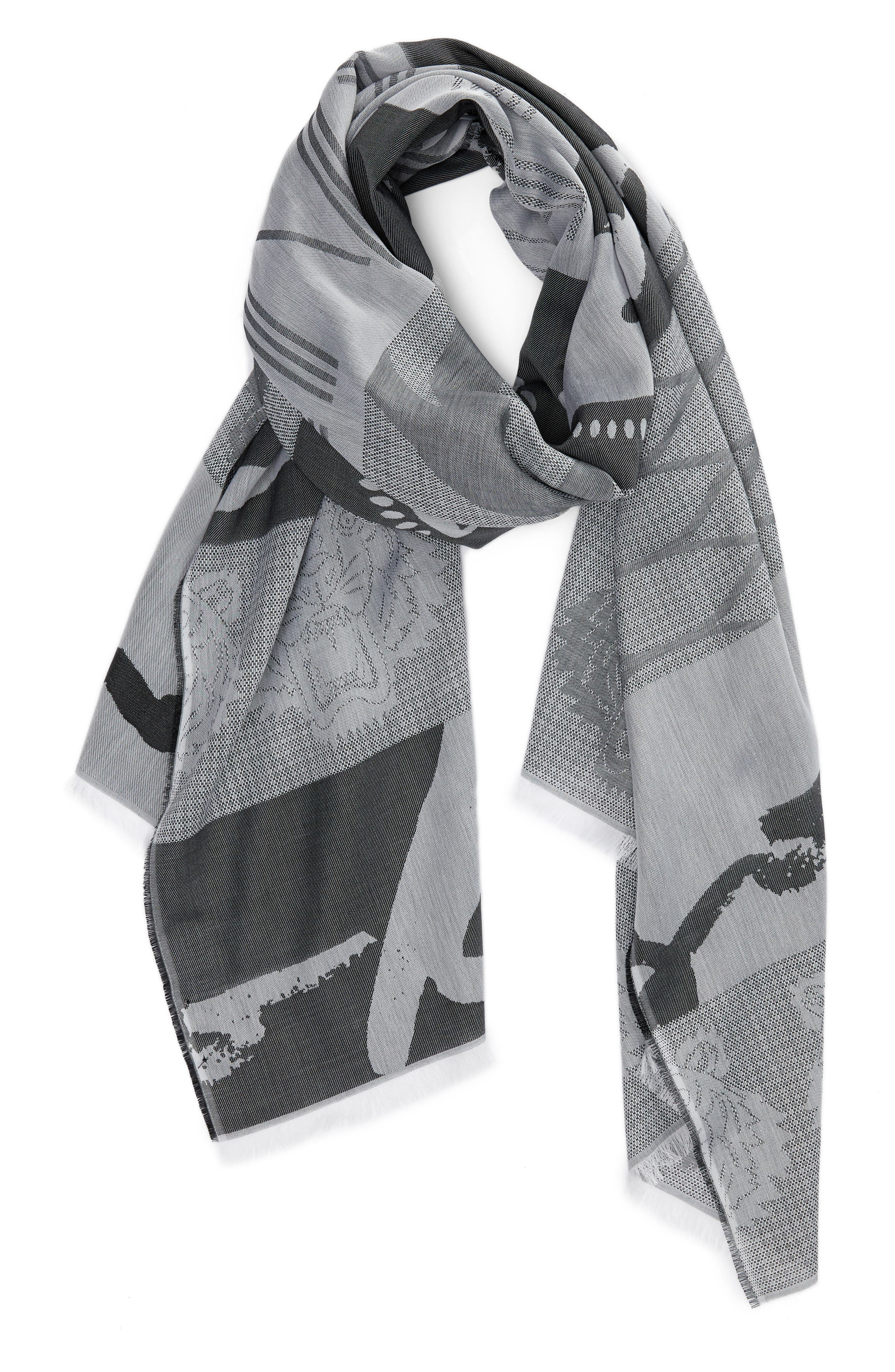 Multi Icons Cotton & Silk Scarf,                             Alternate thumbnail 3, color,                             022