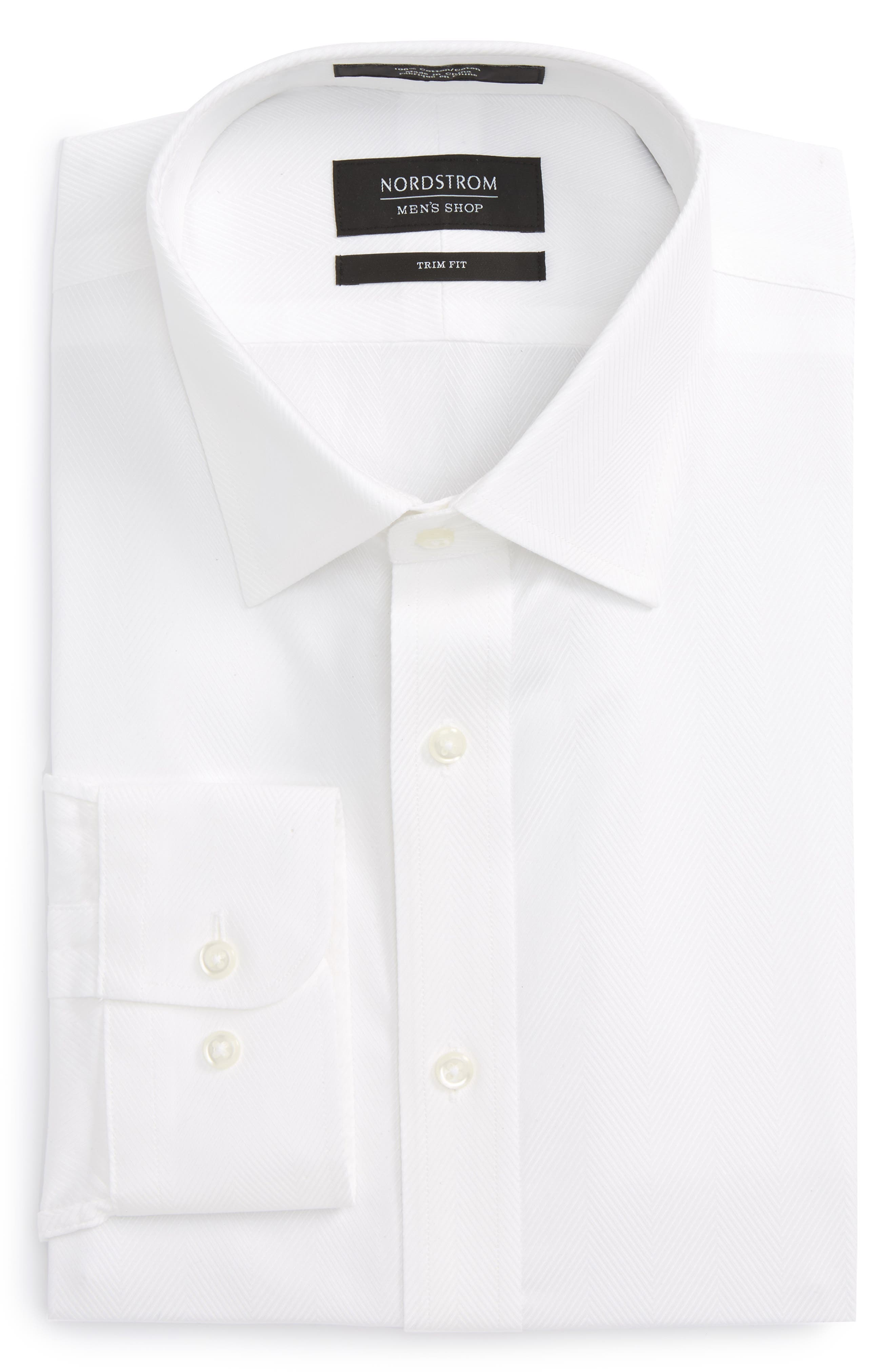 Trim Fit Herringbone Dress Shirt,                             Alternate thumbnail 5, color,                             WHITE