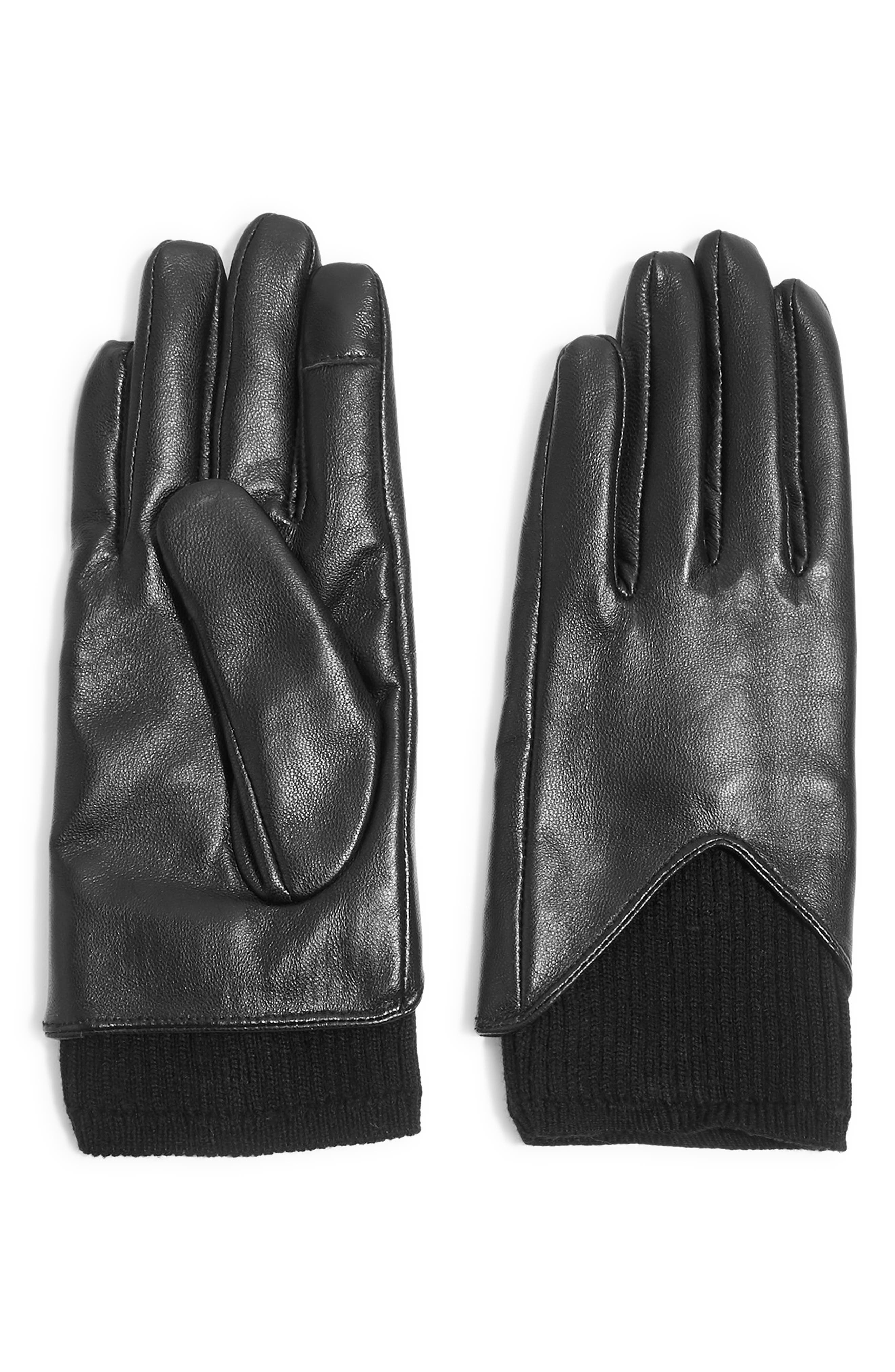 TOPSHOP,                             Rib Knit & Leather Touchscreen Gloves,                             Main thumbnail 1, color,                             BLACK