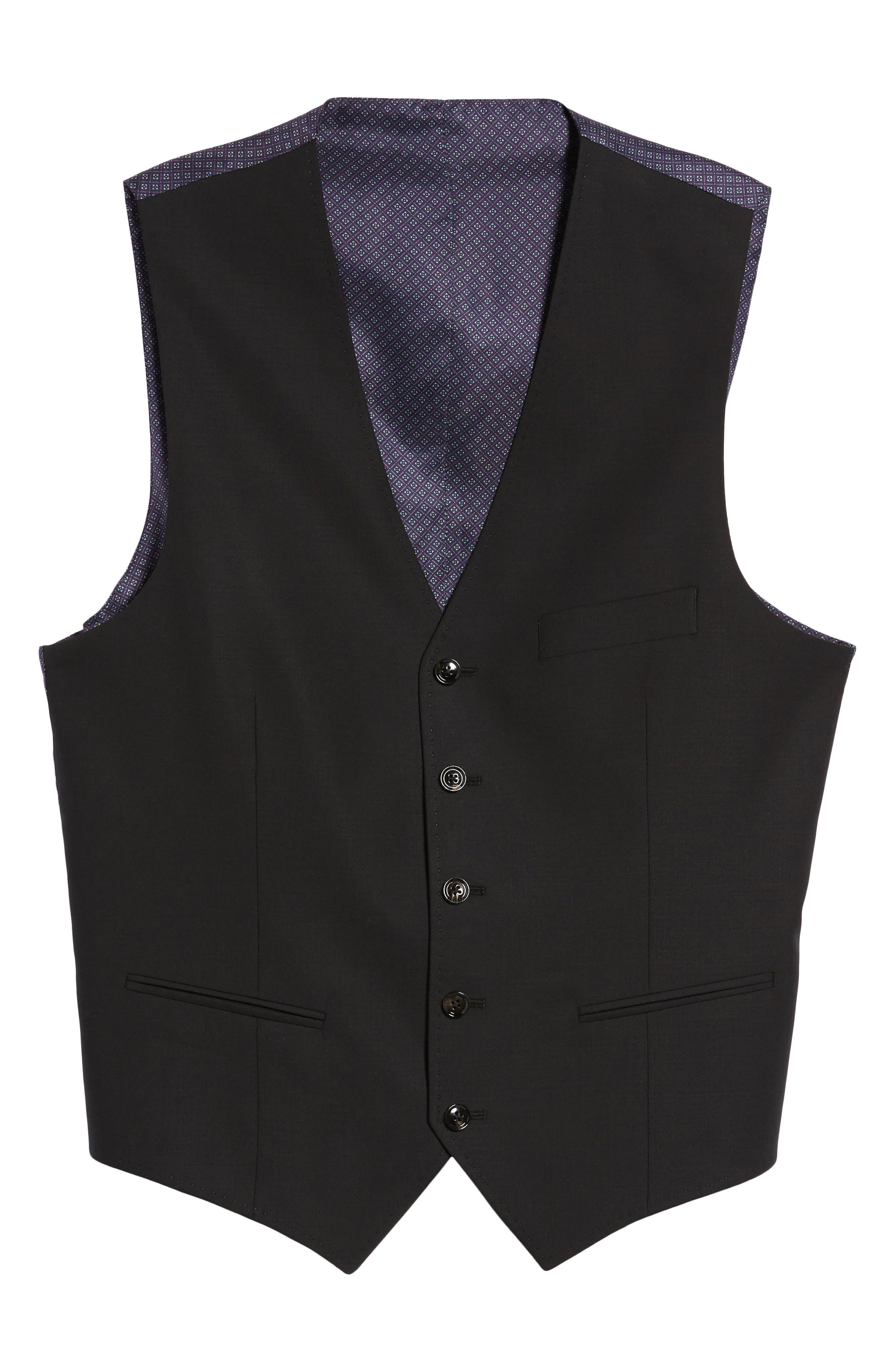 Trim Fit Solid Wool Vest,                             Alternate thumbnail 5, color,                             BLACK