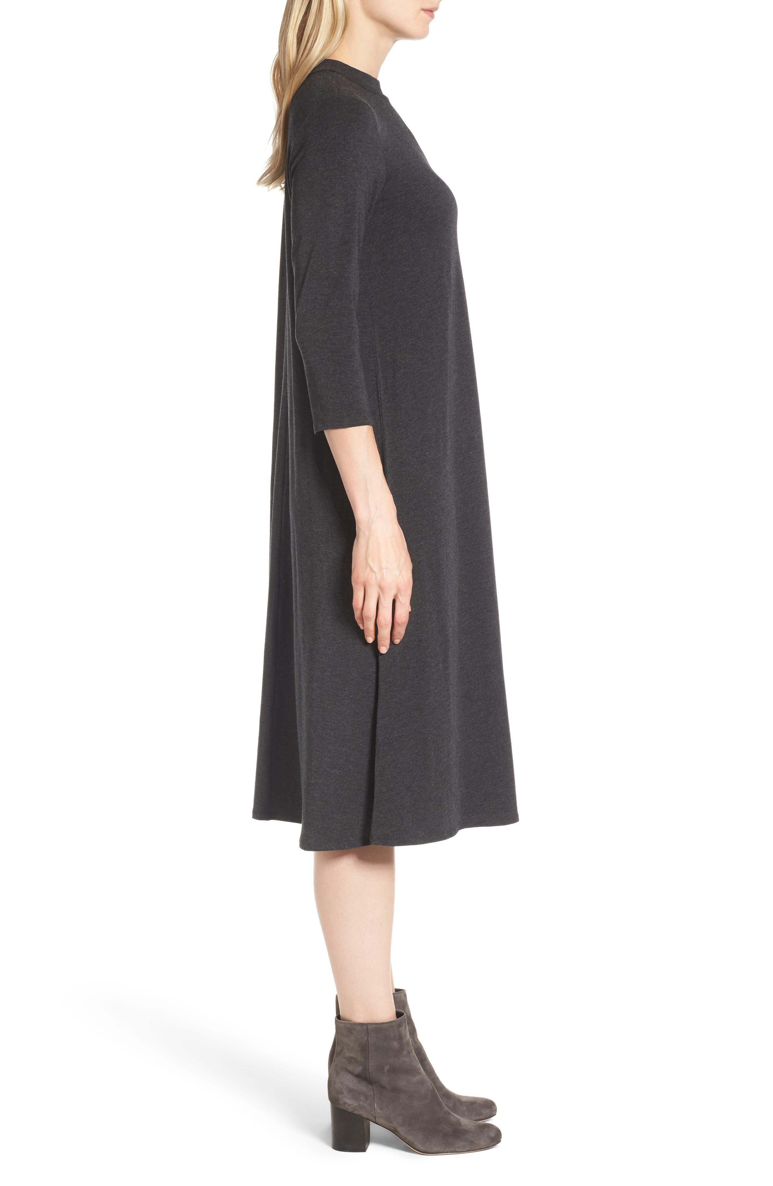 Stretch Tencel<sup>®</sup> Lyocell Midi Dress,                             Alternate thumbnail 3, color,                             021