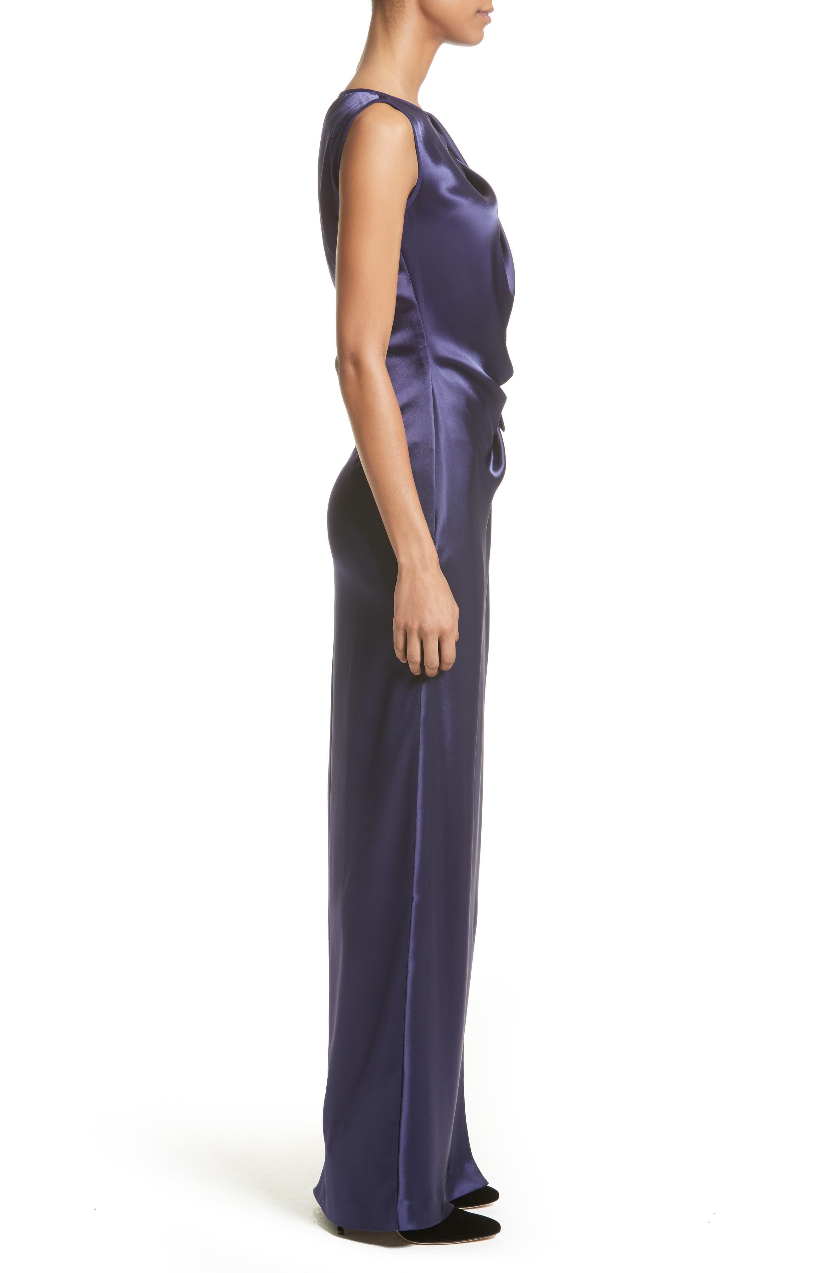 Liquid Satin Drape Front Column Gown,                             Alternate thumbnail 3, color,