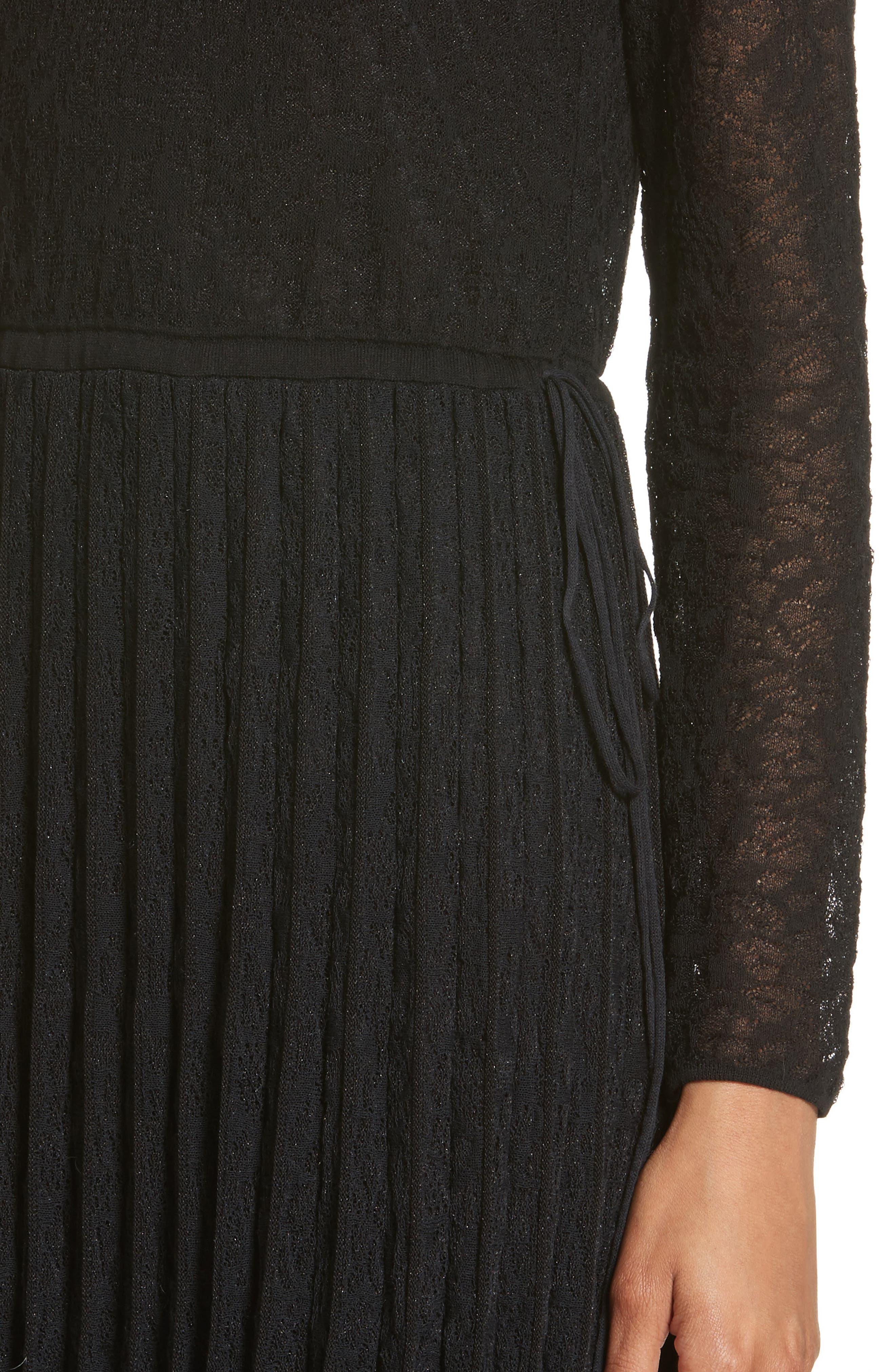Lace Plissé Pleated Midi Dress,                             Alternate thumbnail 4, color,                             001