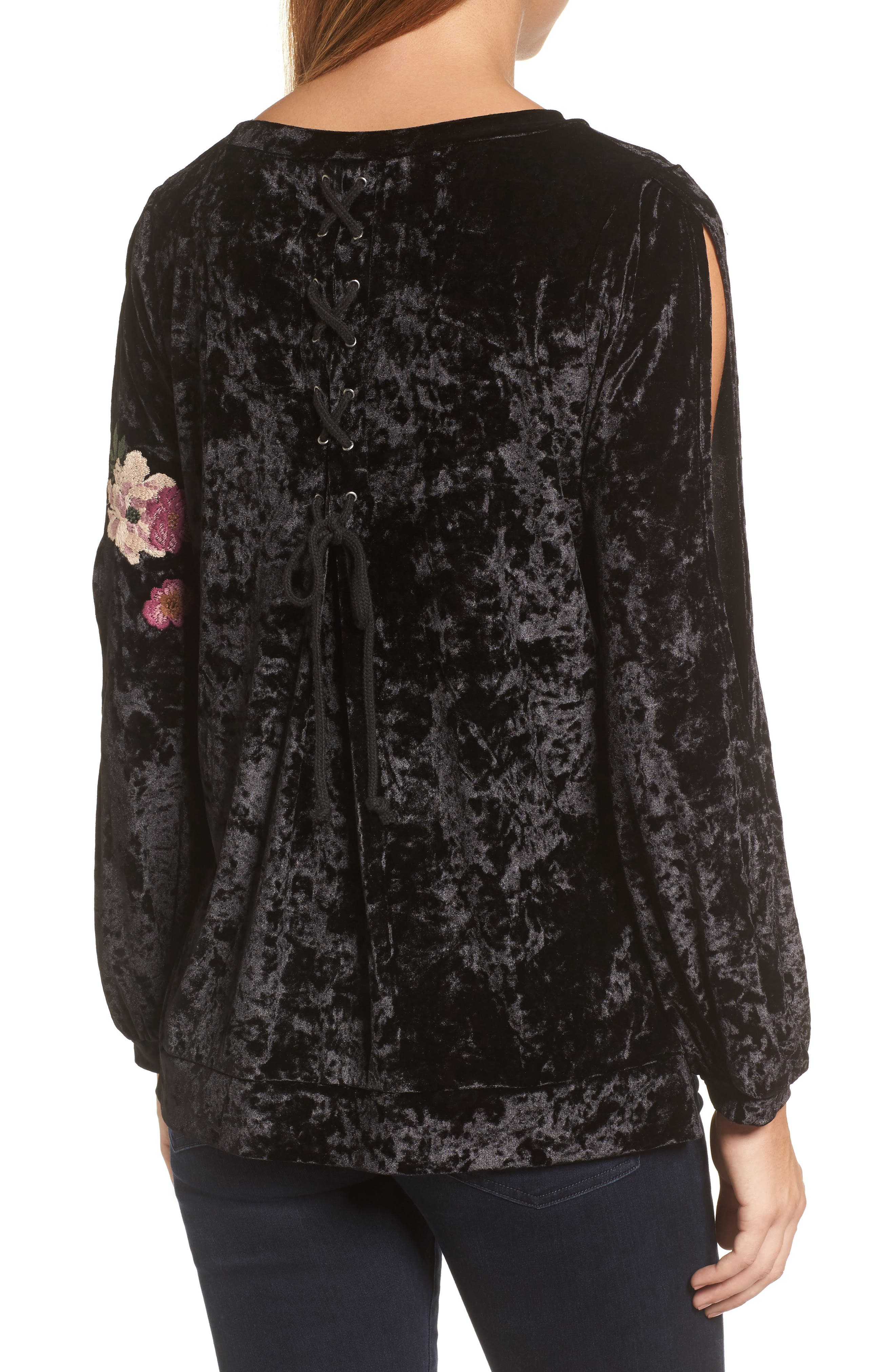 Split Sleeve Embroidered Top,                             Alternate thumbnail 2, color,                             001