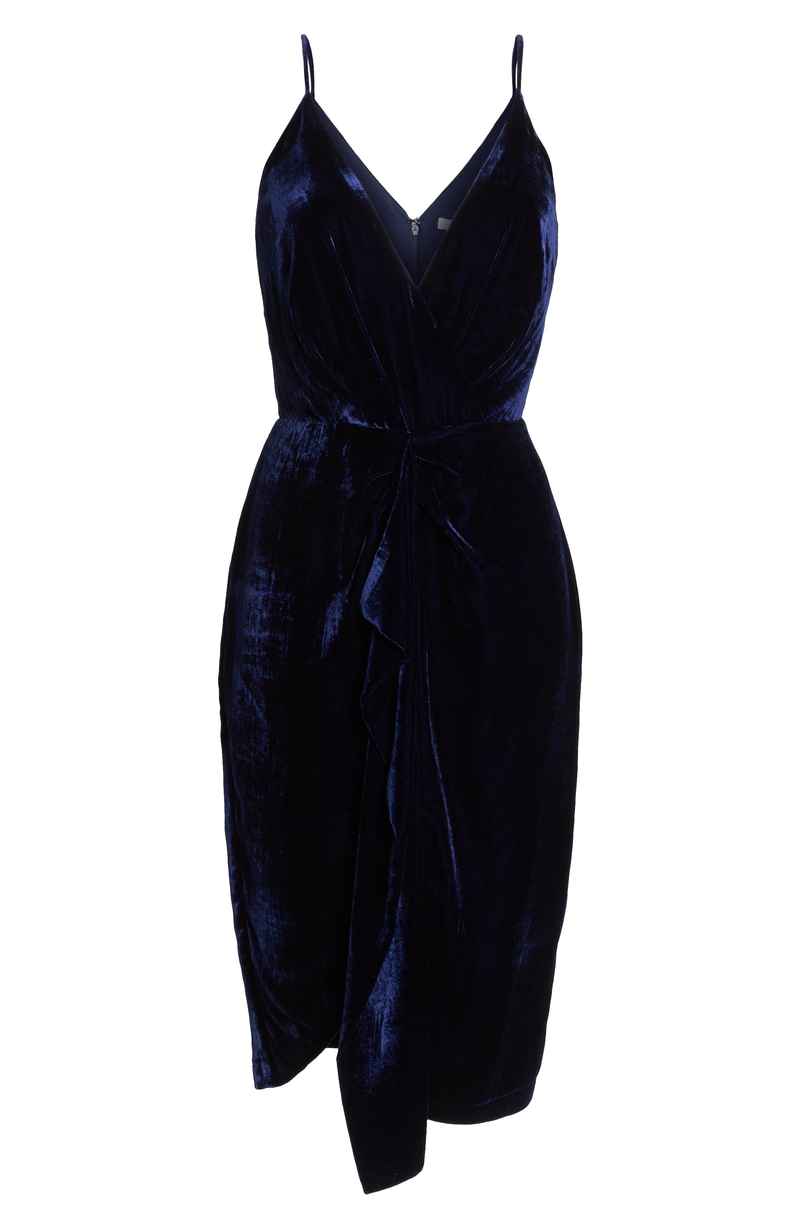 Drape Midi Dress,                             Alternate thumbnail 7, color,                             MIDNIGHT BLUE