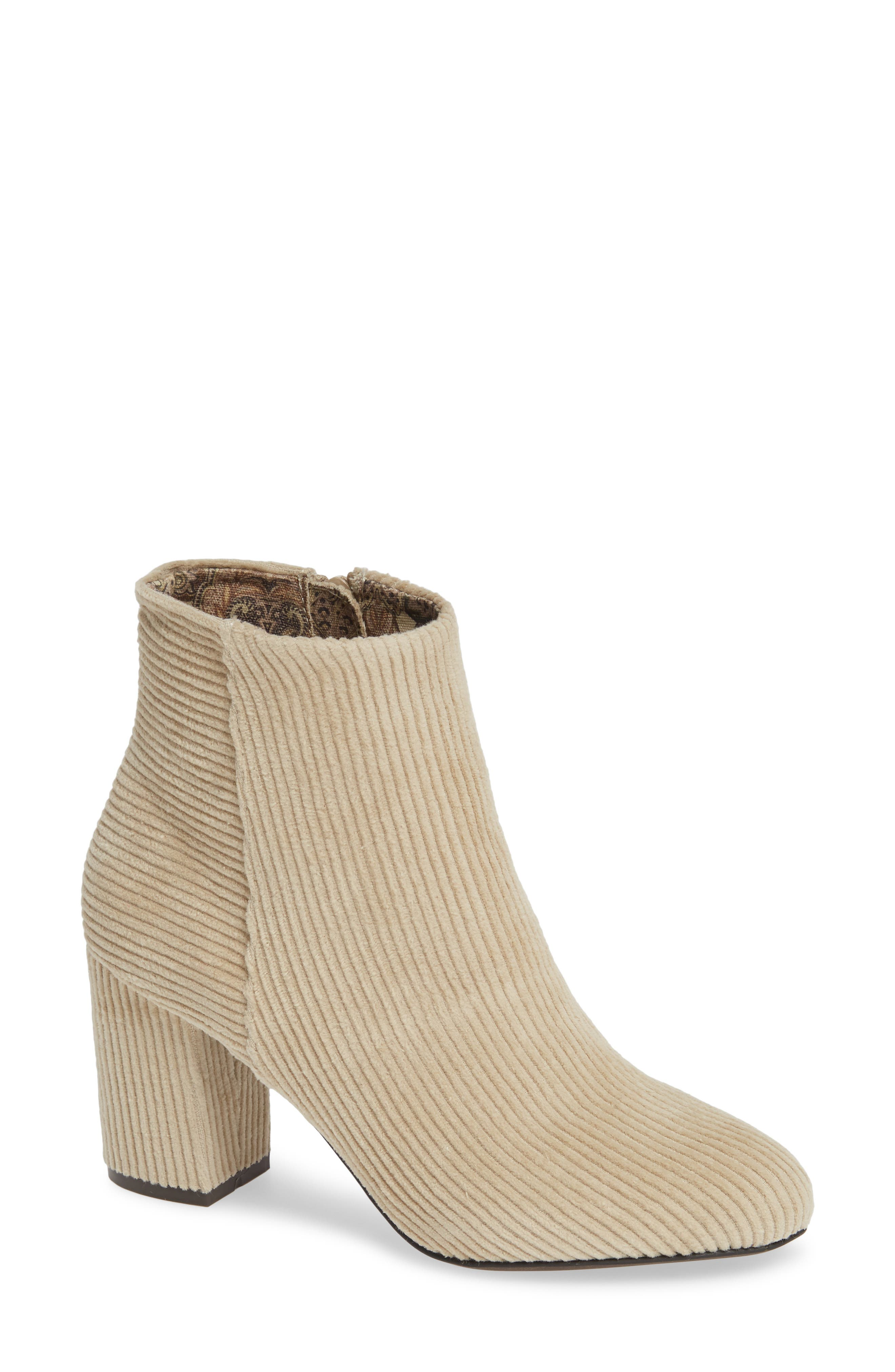 BAND OF GYPSIES Andrea Bootie in Winter White Corduroy