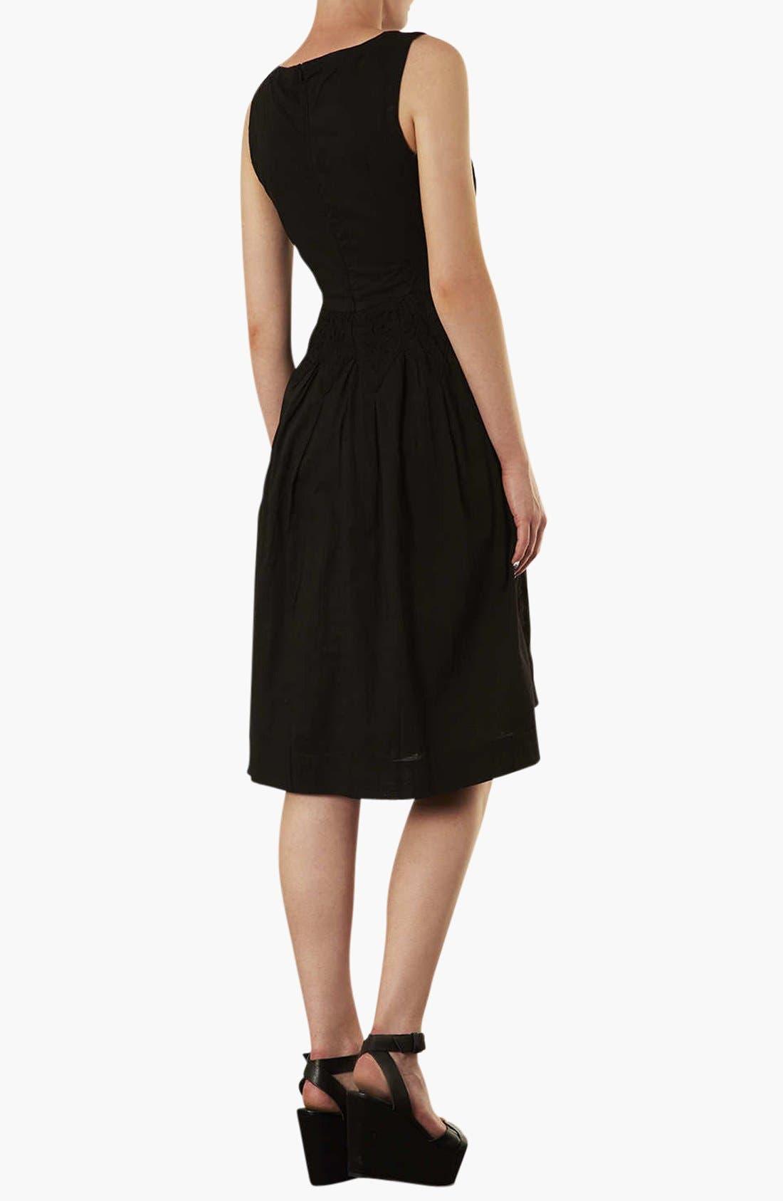 Broderie Midi Dress,                             Alternate thumbnail 2, color,                             001