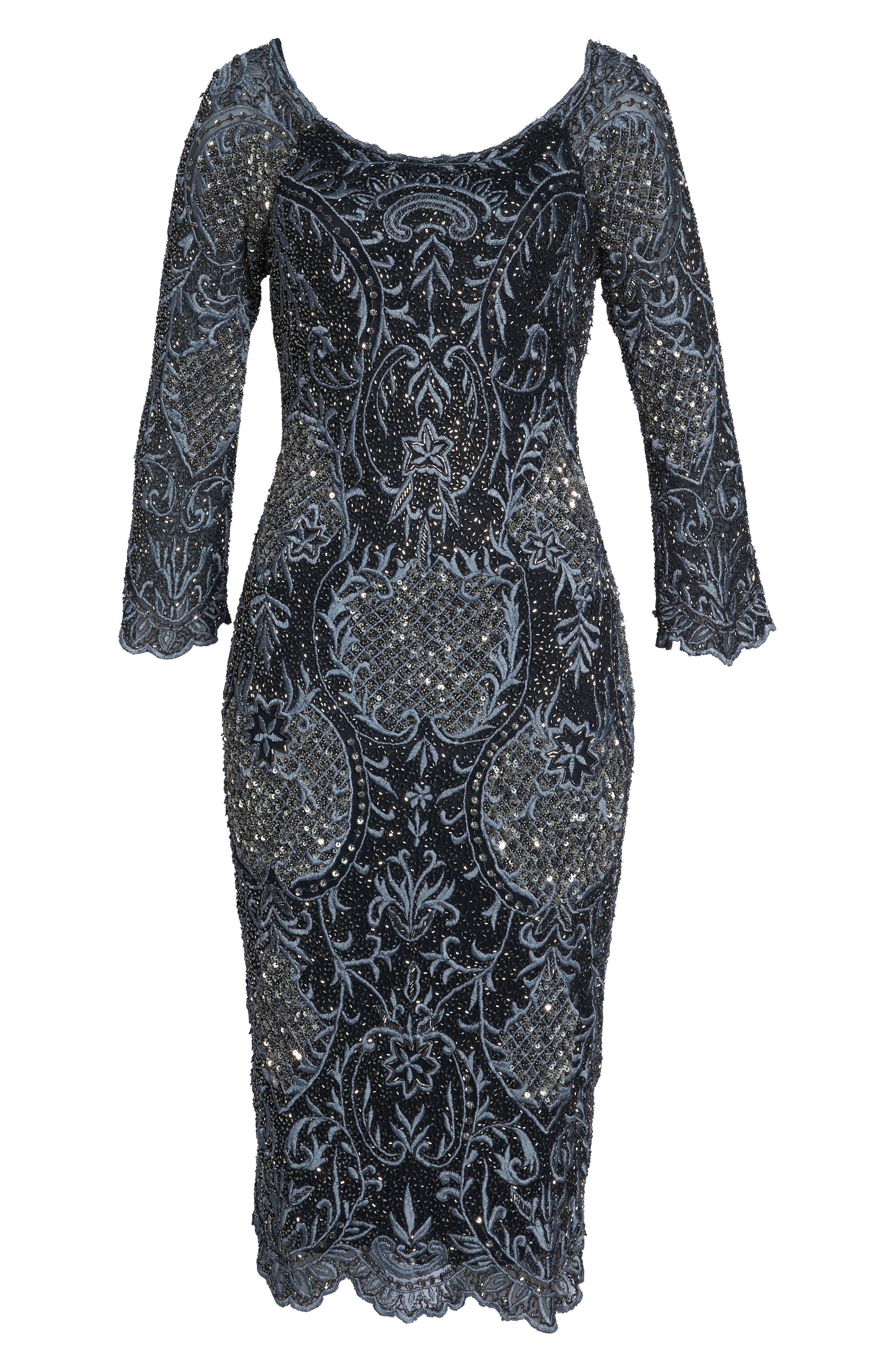 Embroidered Scallop Edge Midi Sheath Dress,                             Alternate thumbnail 7, color,                             BLACK