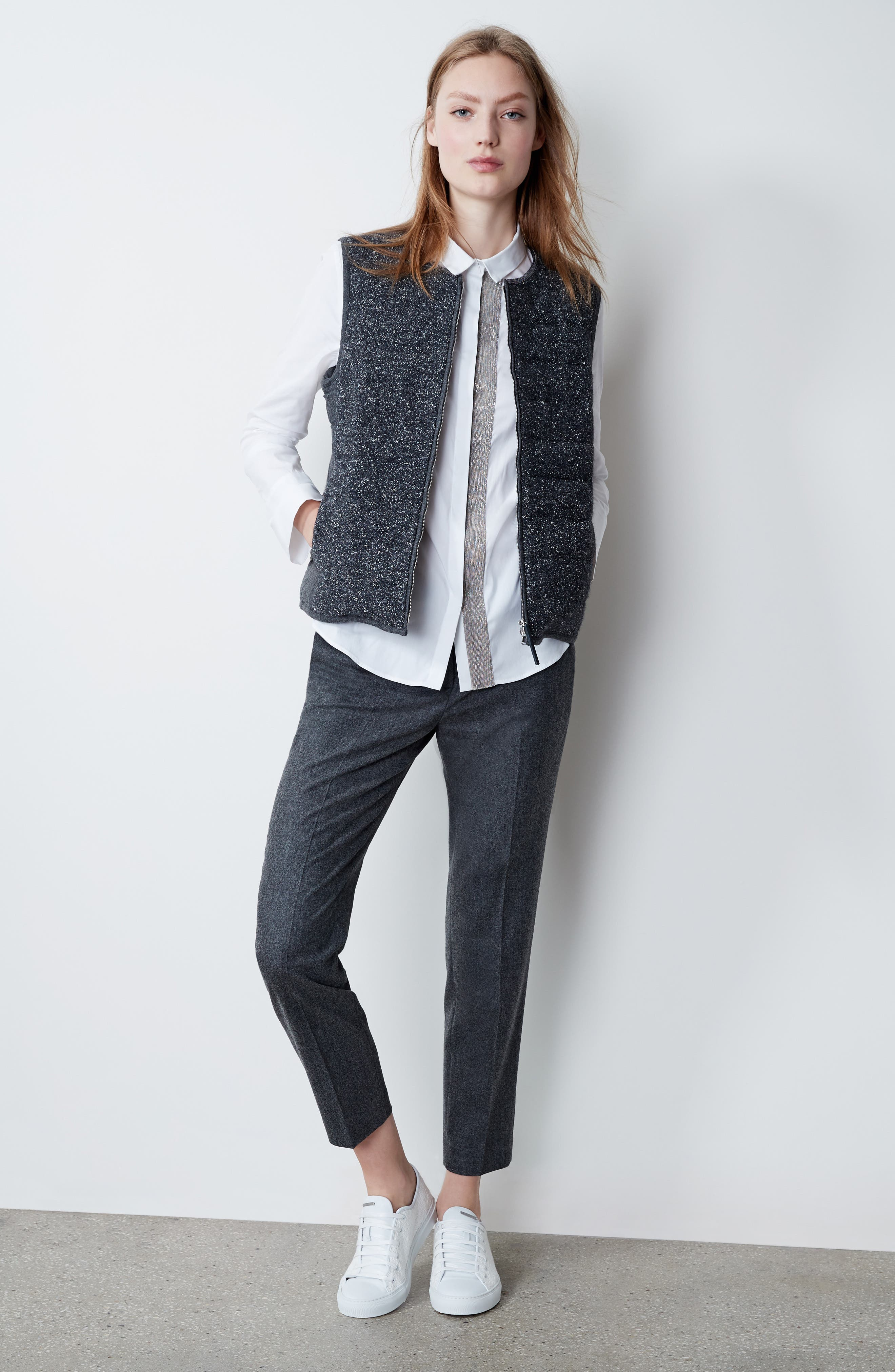 Pebbled Knit Front Quilted Down Vest,                             Alternate thumbnail 7, color,                             021