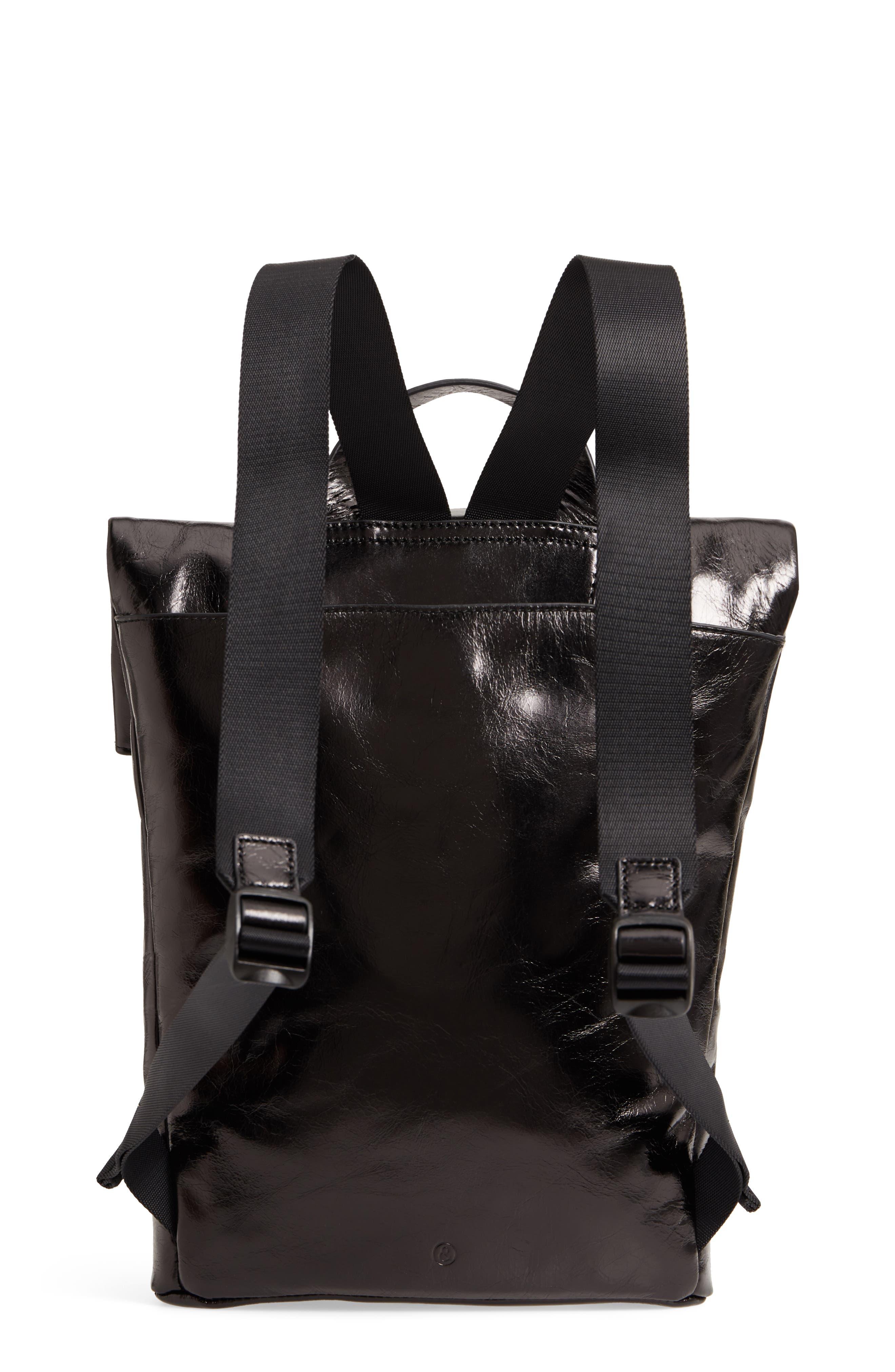 Remy Glazed Leather Backpack,                             Alternate thumbnail 3, color,                             BLACK