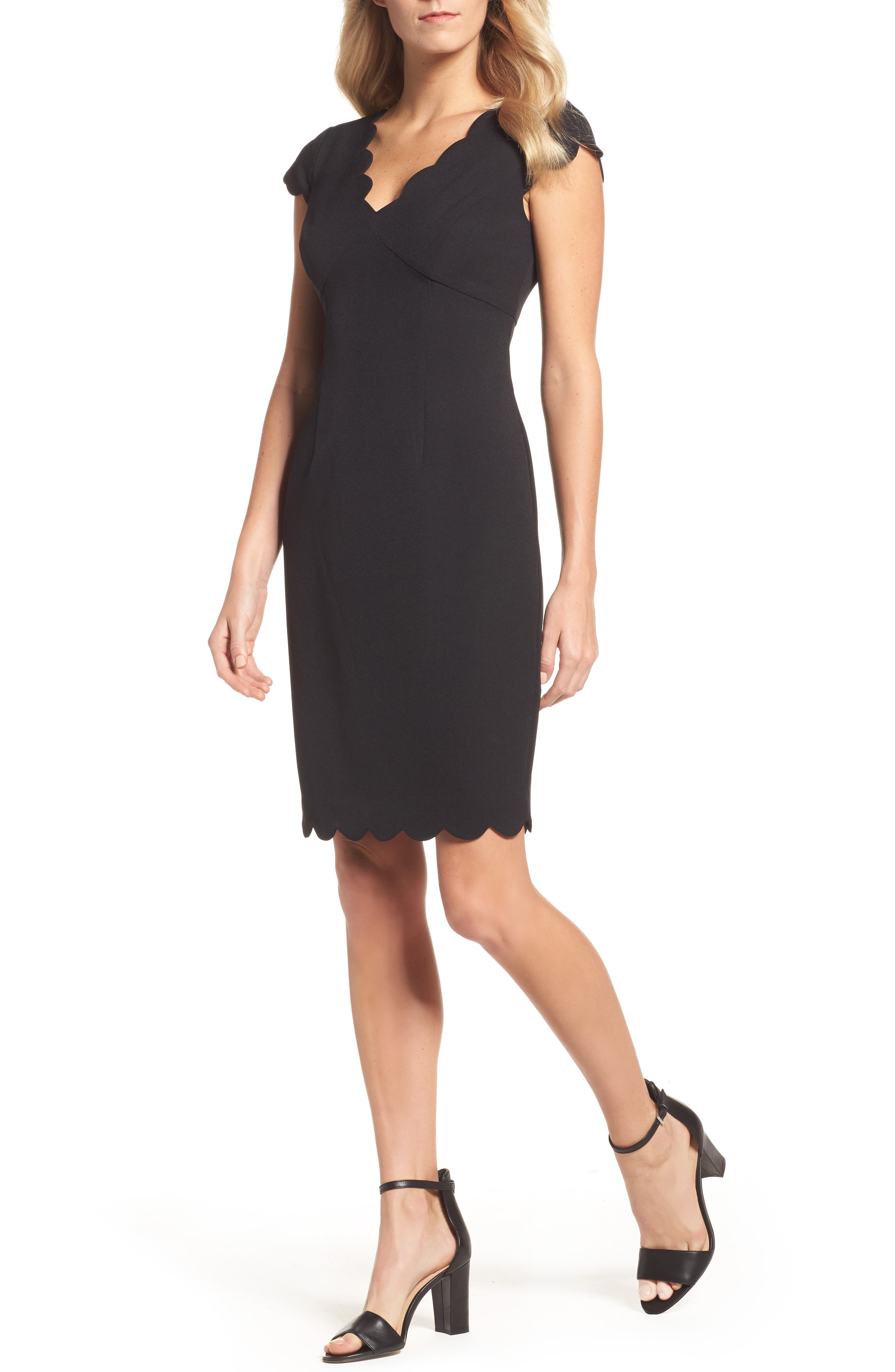 ADRIANNA PAPELL Scalloped Crepe Sheath Dress, Main, color, 001