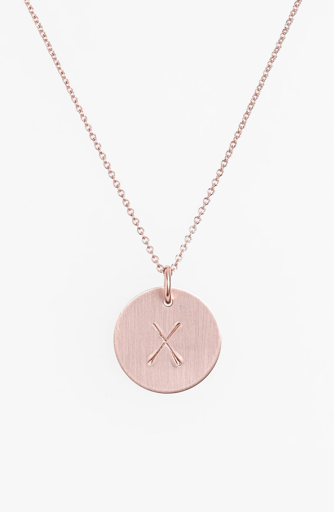 14k-Rose Gold Fill Initial Disc Necklace,                             Main thumbnail 24, color,