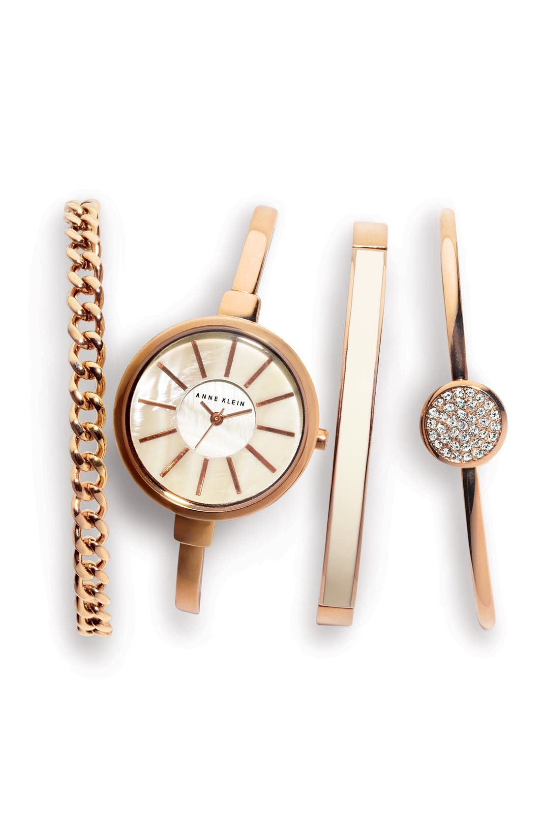 Round Watch & Bangle Set, 32mm,                             Alternate thumbnail 4, color,                             ROSE GOLD/ IVORY