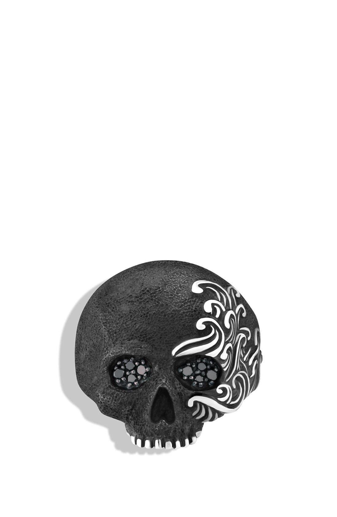 'Waves' Large Skull Ring with Black Diamonds,                             Alternate thumbnail 5, color,                             BLACK DIAMOND