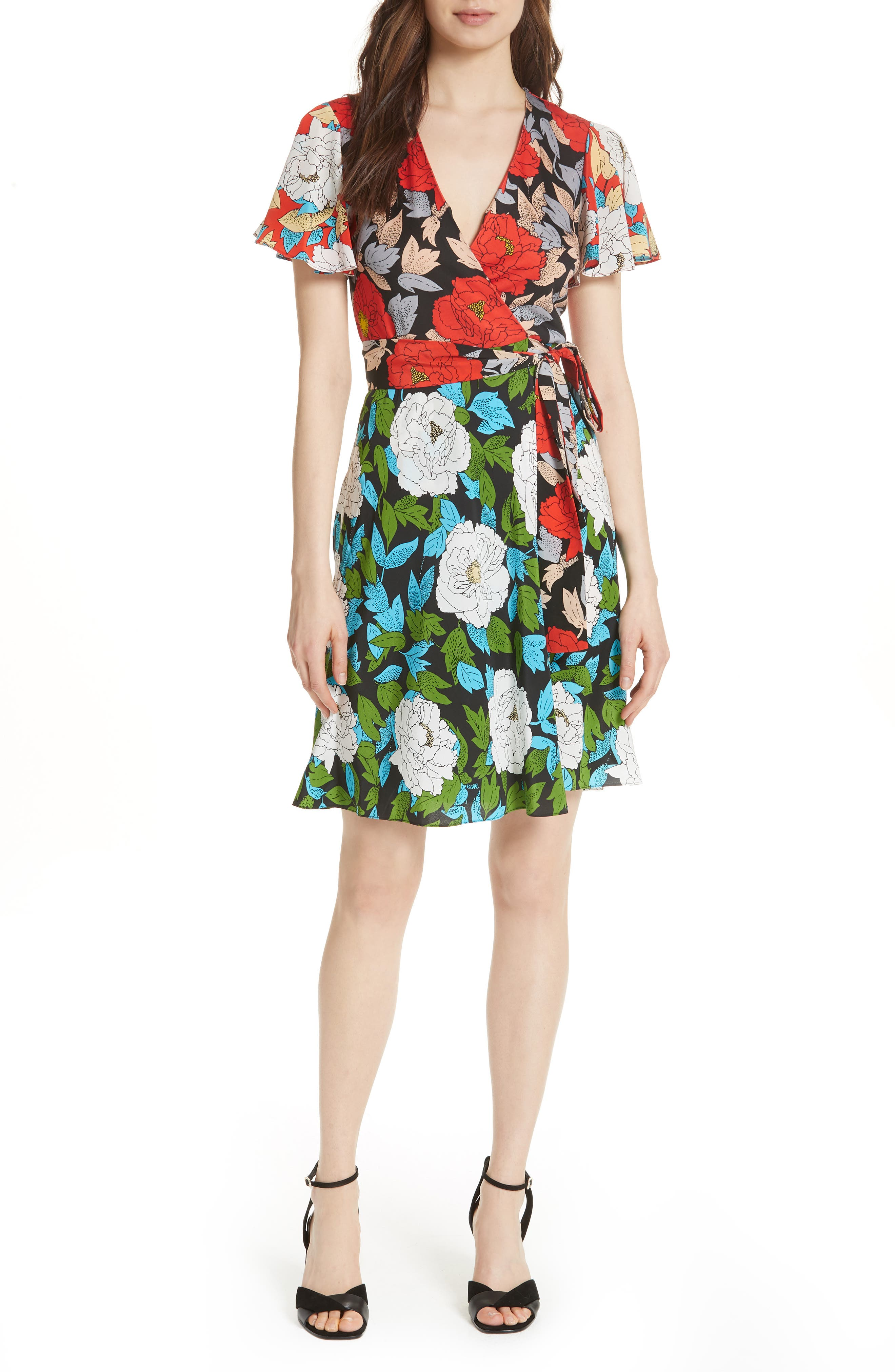 Diane von Furstenberg Flutter Sleeve Silk Wrap Dress,                             Main thumbnail 2, color,