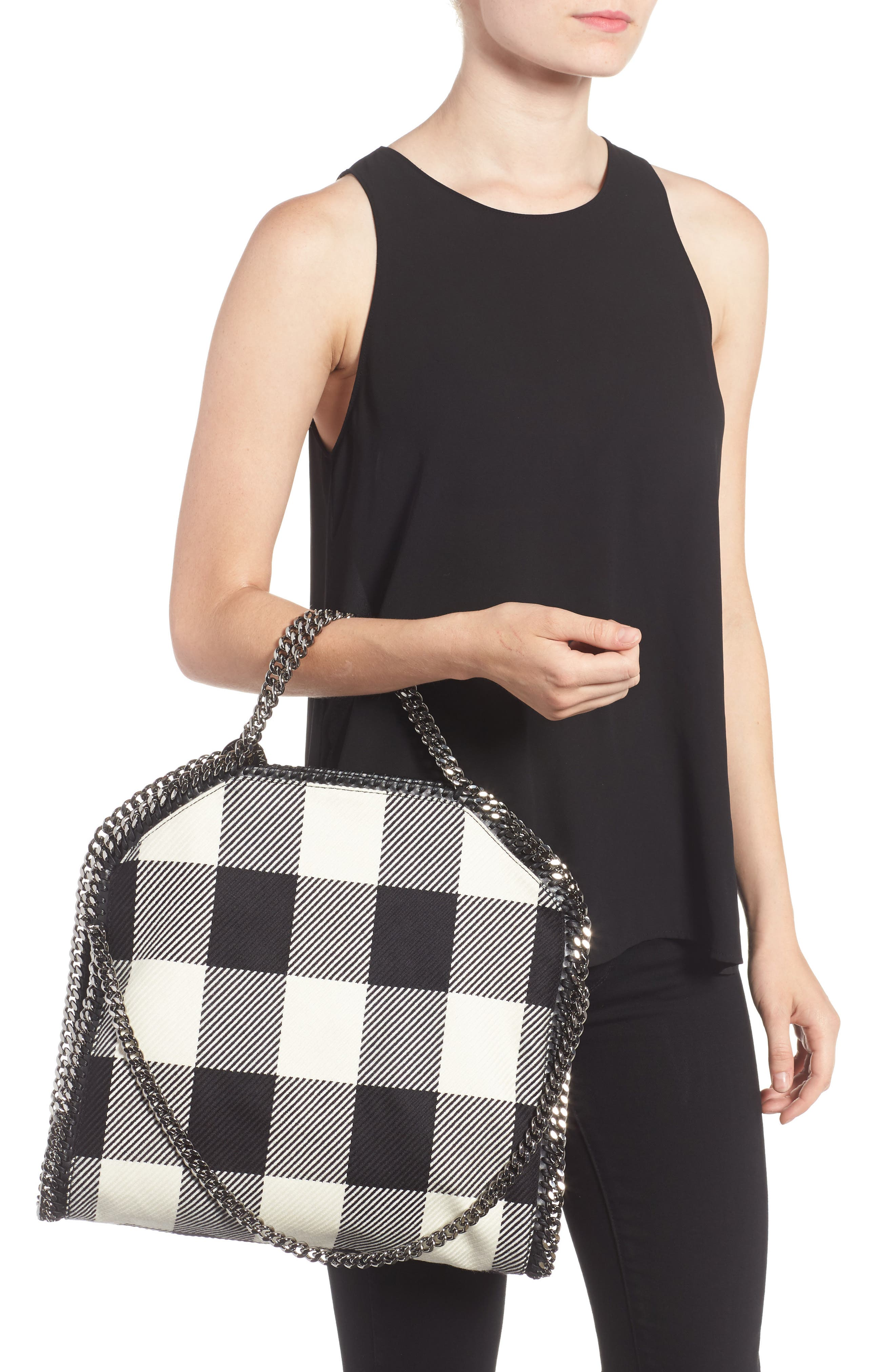 Falabella - Shaggy Deer Flannel Foldover Tote,                             Alternate thumbnail 2, color,                             001