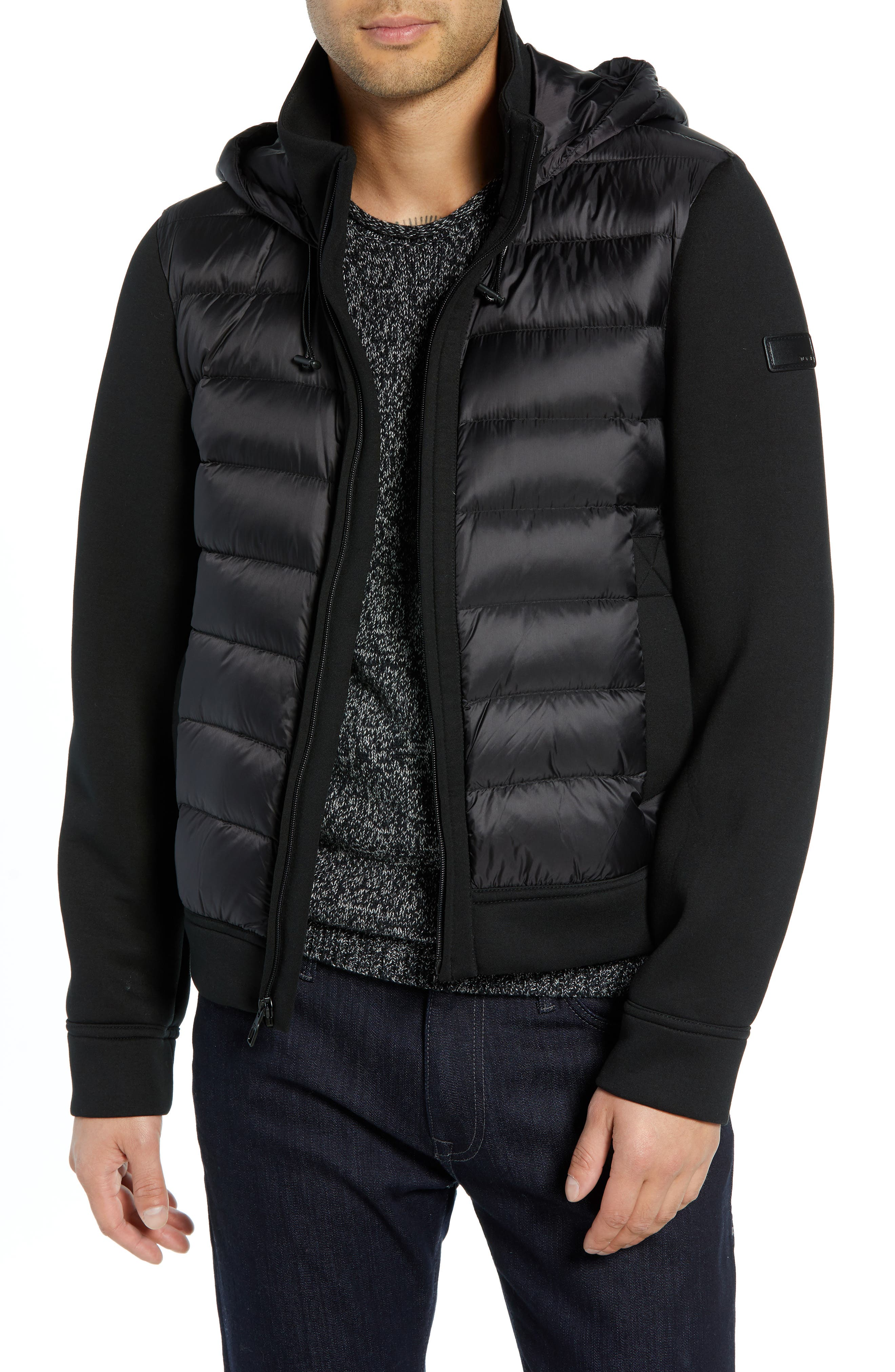 Quilted Down and Neoprene Hooded Jacket,                             Main thumbnail 1, color,                             BLACK
