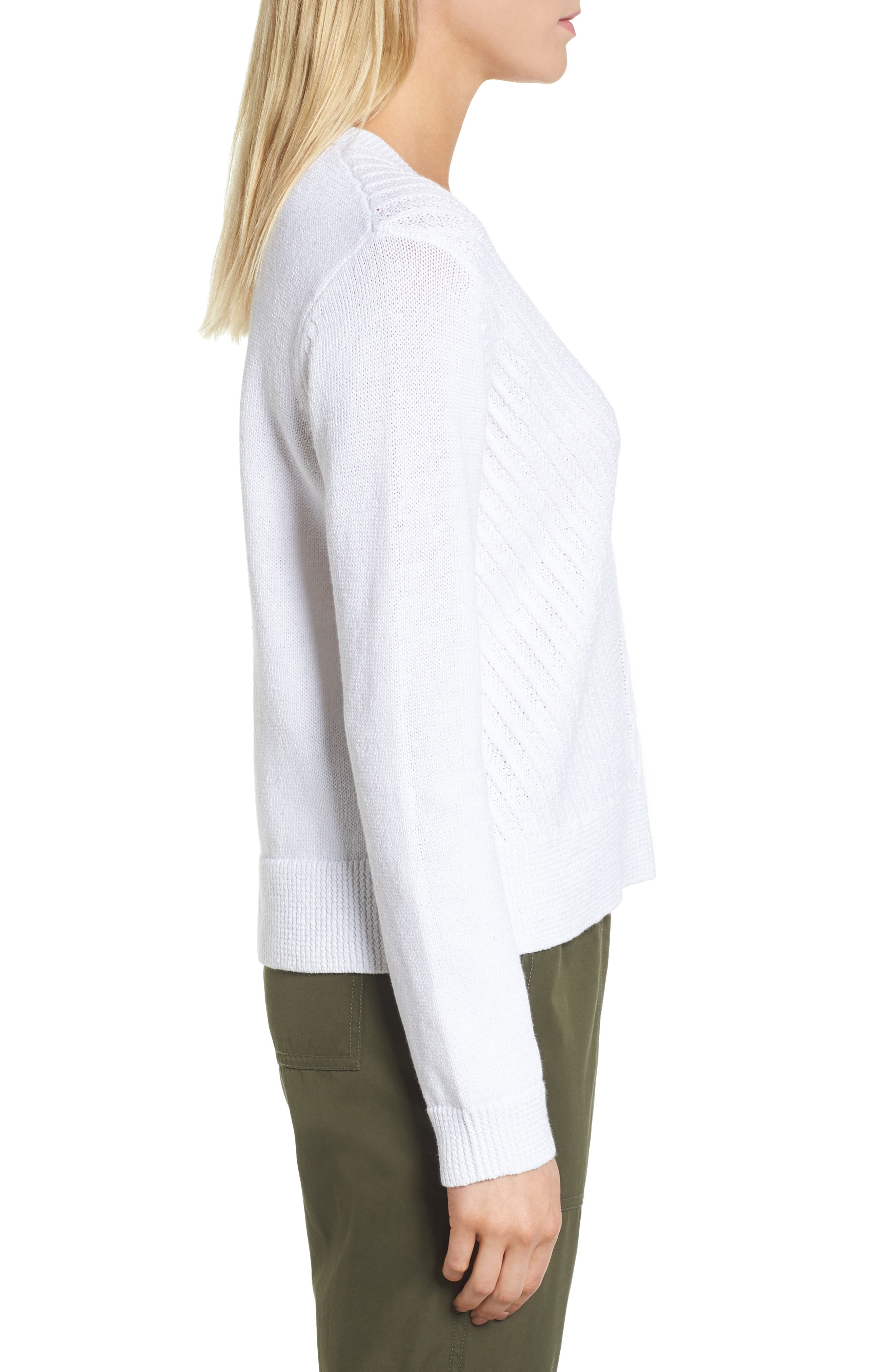 Textured Front V-Neck Sweater,                             Alternate thumbnail 3, color,                             100