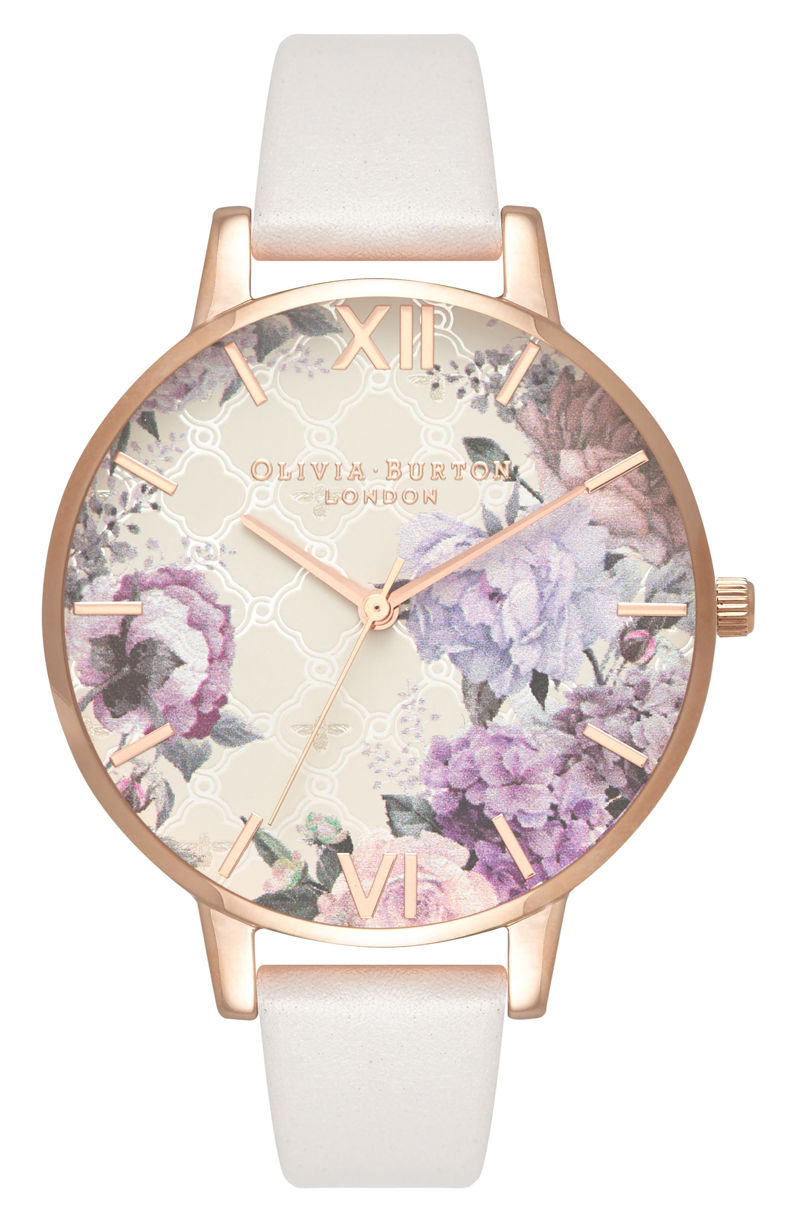 Glasshouse Leather Strap Watch, 38mm,                         Main,                         color, BLUSH/ FLORAL/ ROSE GOLD