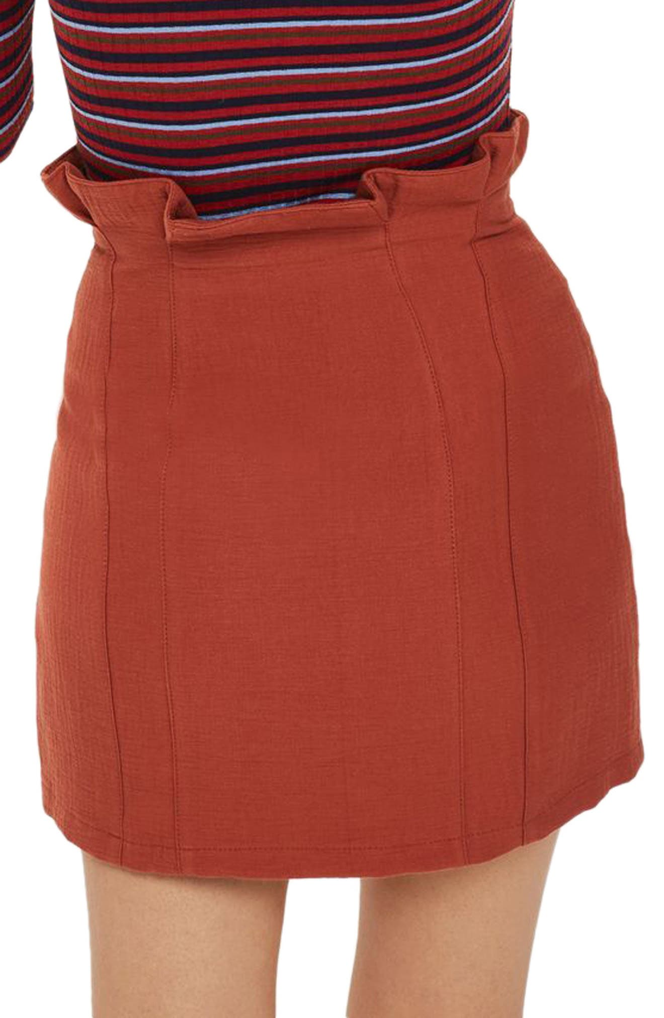 Paperbag Waist Button Front Skirt,                             Alternate thumbnail 3, color,
