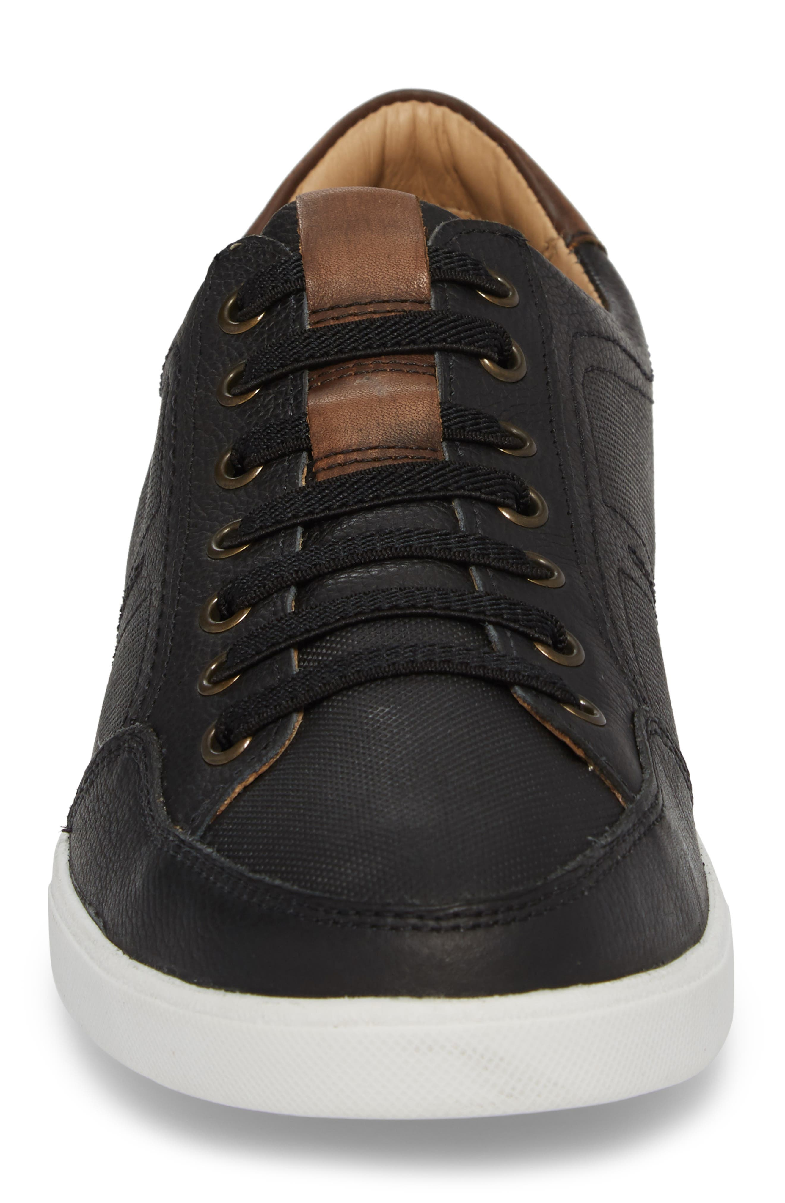 Quinton Textured Low Top Sneaker,                             Alternate thumbnail 4, color,                             BLACK LEATHER