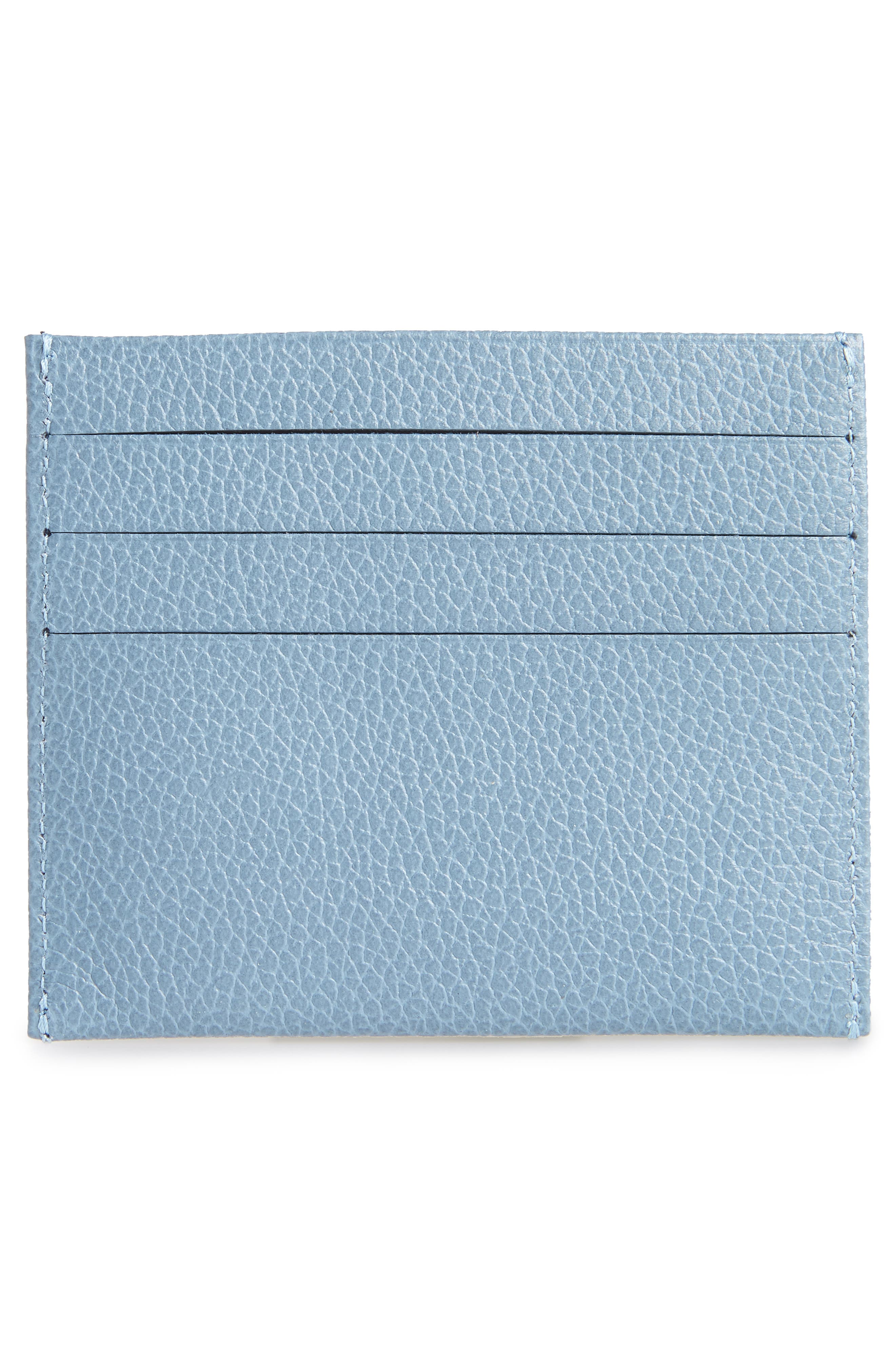 'Le Foulonne' Pebbled Leather Card Holder,                             Alternate thumbnail 2, color,                             NORDIC