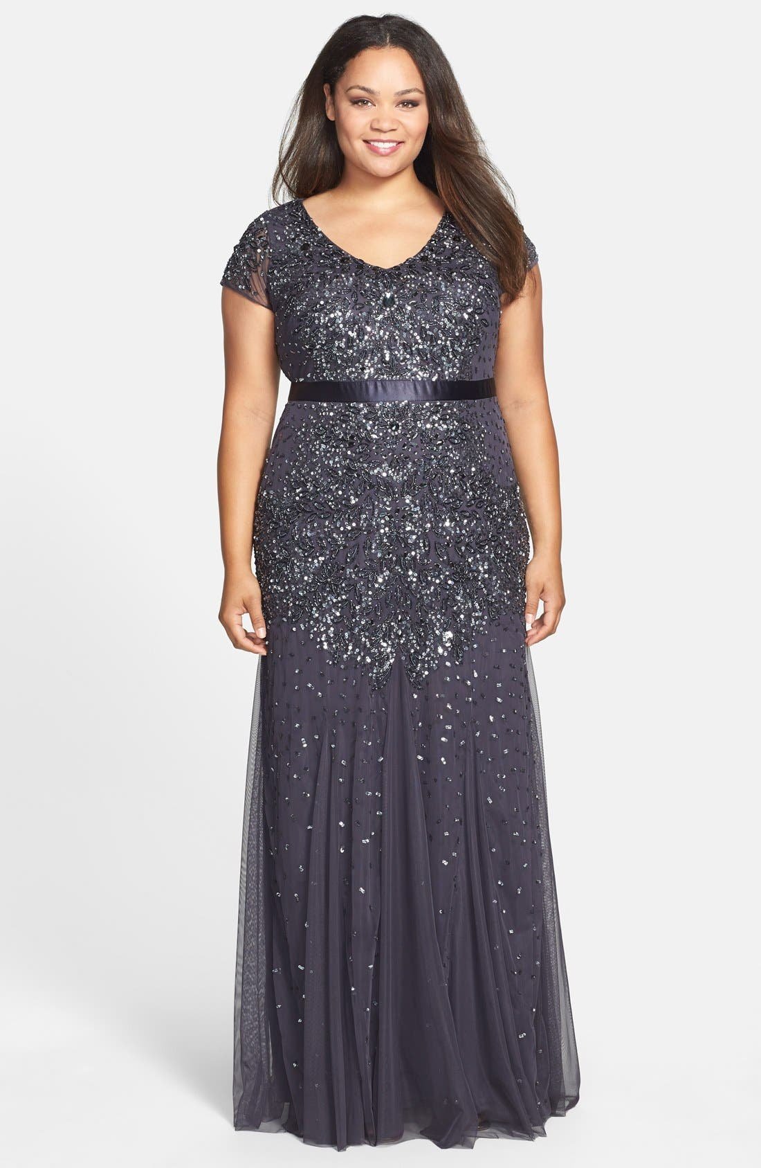 Beaded V-Neck Gown,                             Main thumbnail 1, color,                             GUNMETAL