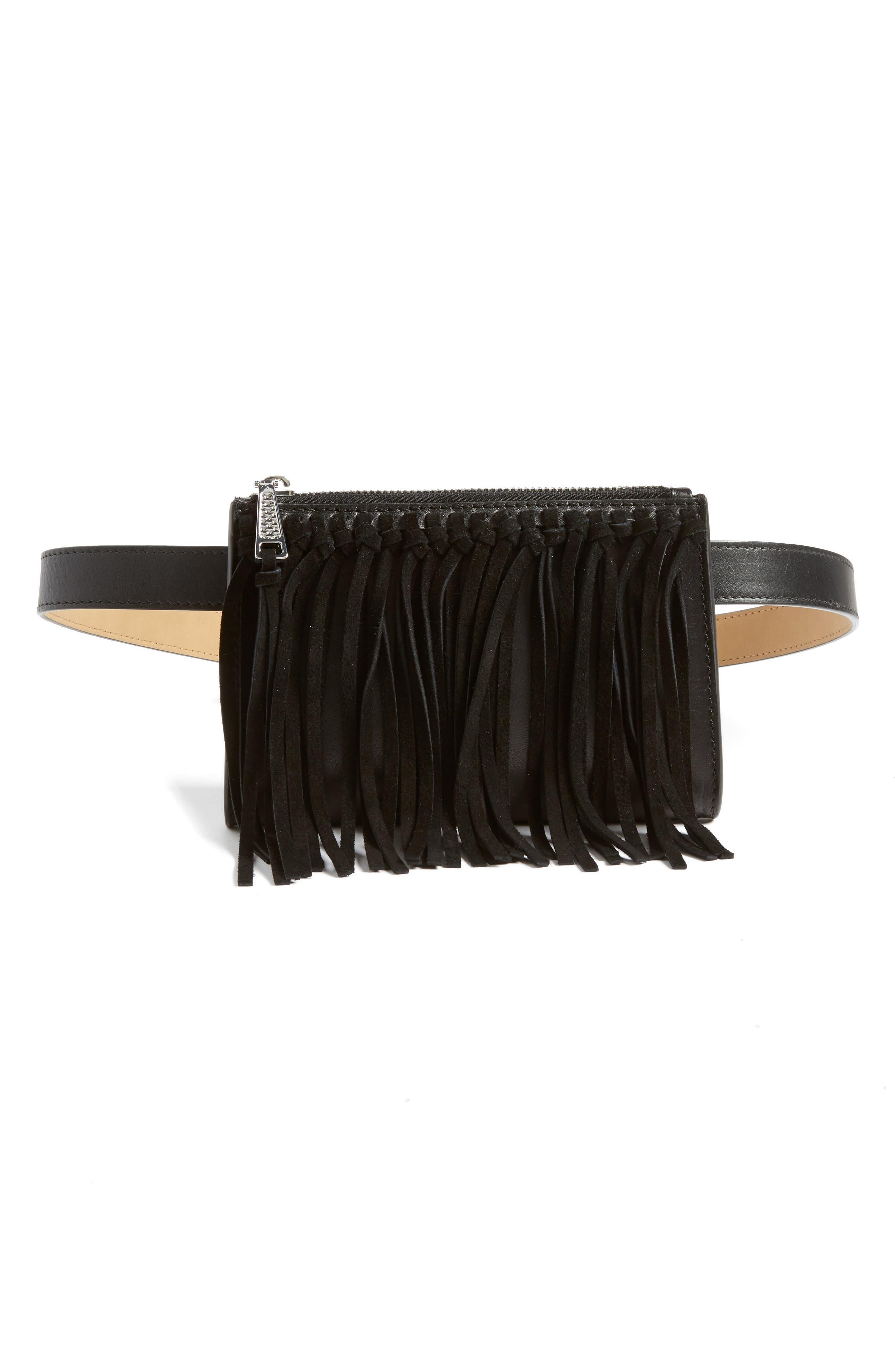 Fringe Belt Bag, Main, color, 001