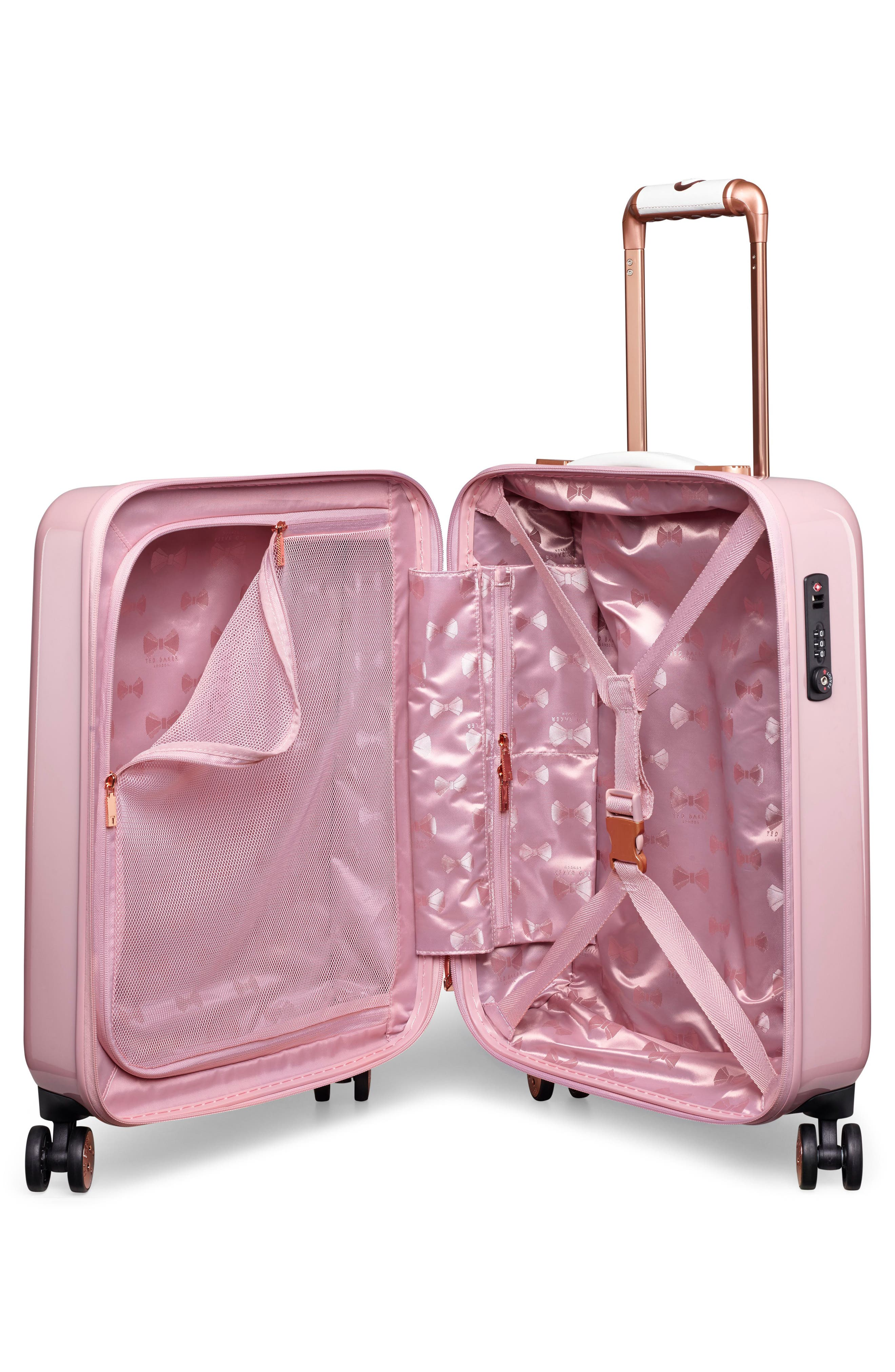 TED BAKER LONDON,                             Small Elegant Print 21-Inch Spinner Carry-On,                             Alternate thumbnail 2, color,                             PINK