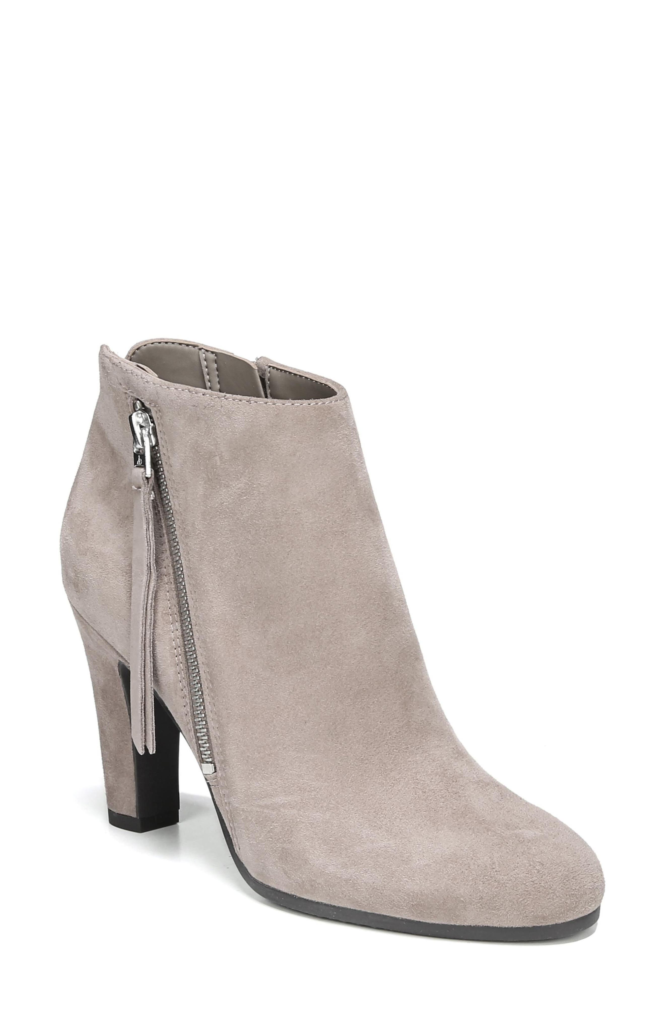 Sadee Angle Zip Bootie,                         Main,                         color, NEW PUTTY SUEDE