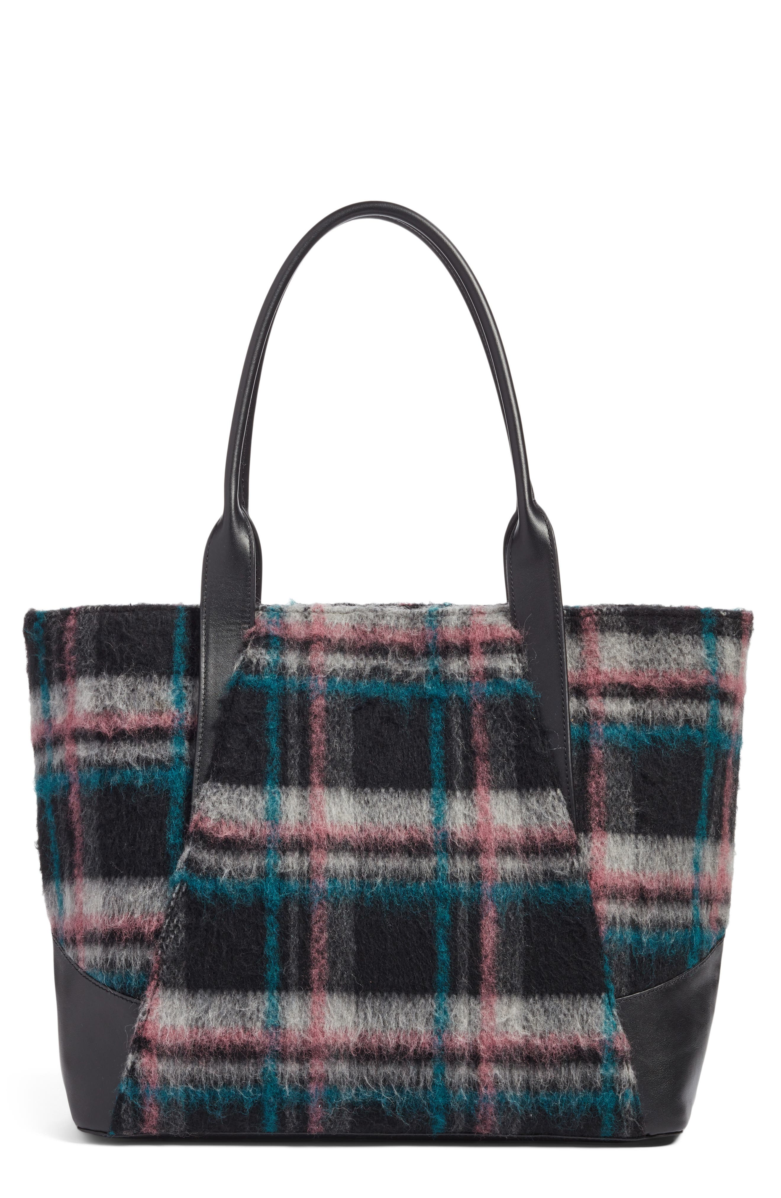 Ashton Plaid Wool & Leather Tote,                         Main,                         color, 310