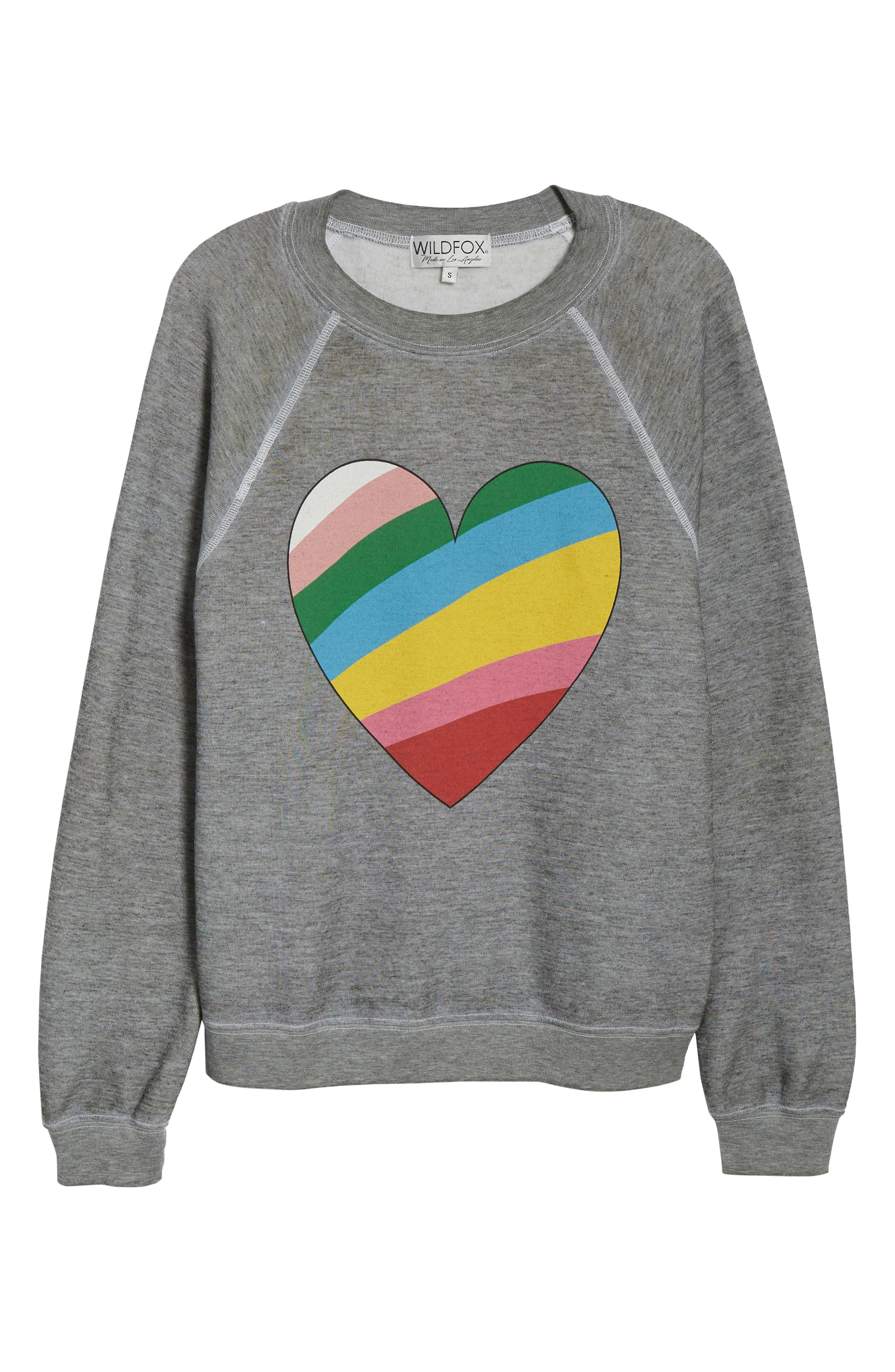 Sommers Love Hearts Sweatshirt,                             Alternate thumbnail 6, color,                             HEATHER