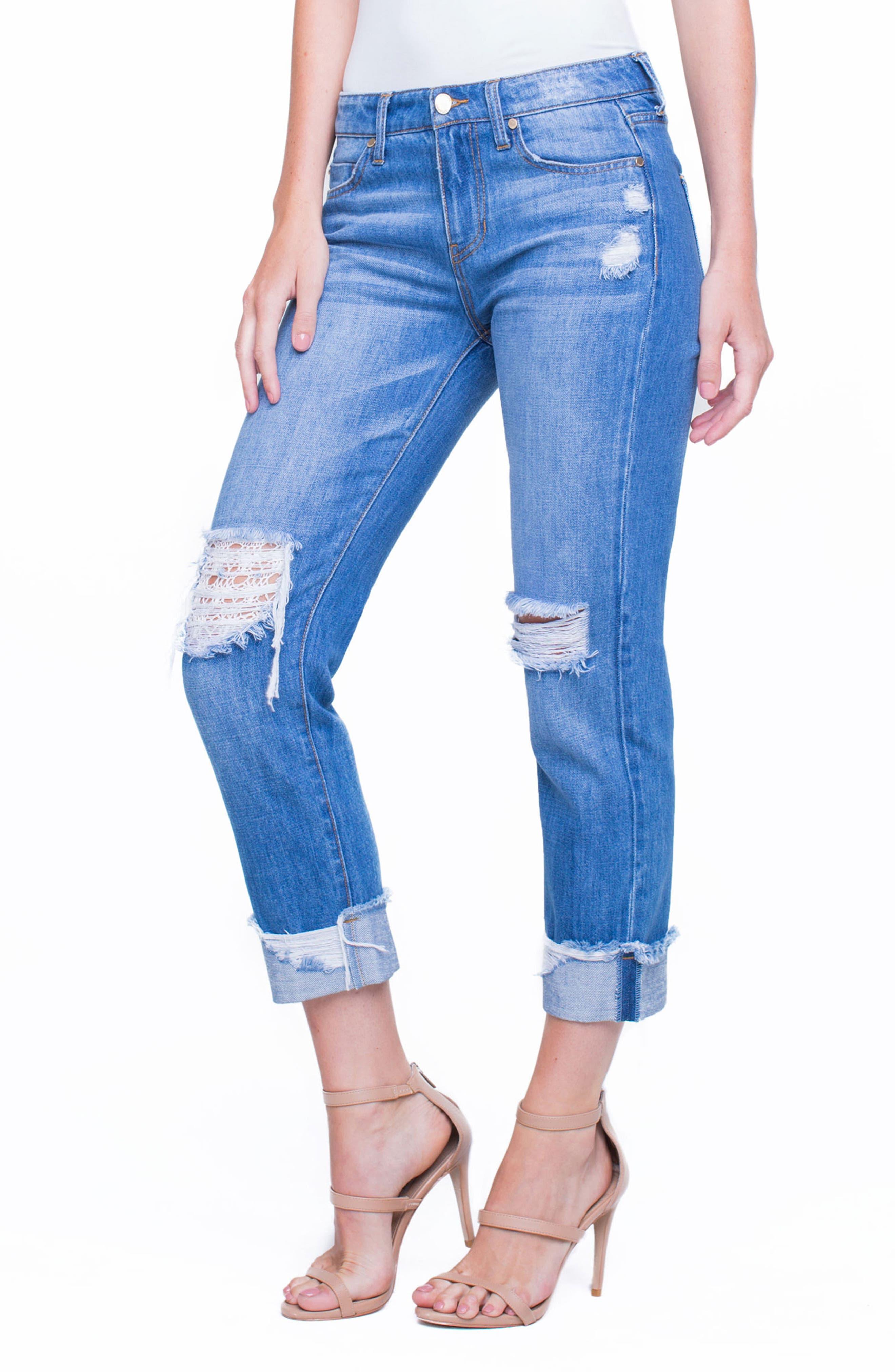 Jeans Company Kennedy Distressed Raw Hem Crop Boyfriend Jeans,                             Alternate thumbnail 3, color,                             402