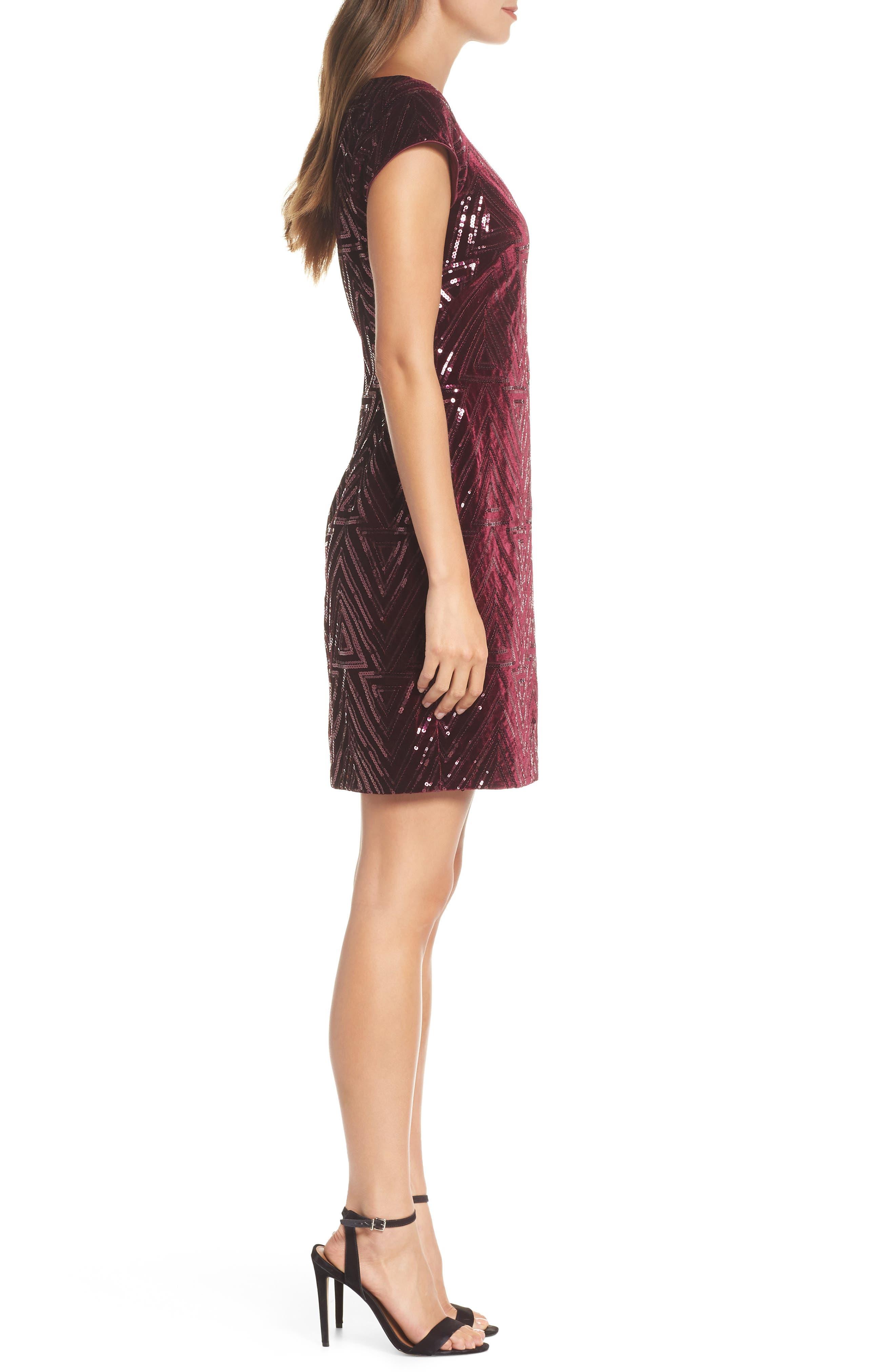 Sequin Sheath Dress,                             Alternate thumbnail 3, color,                             MAROON