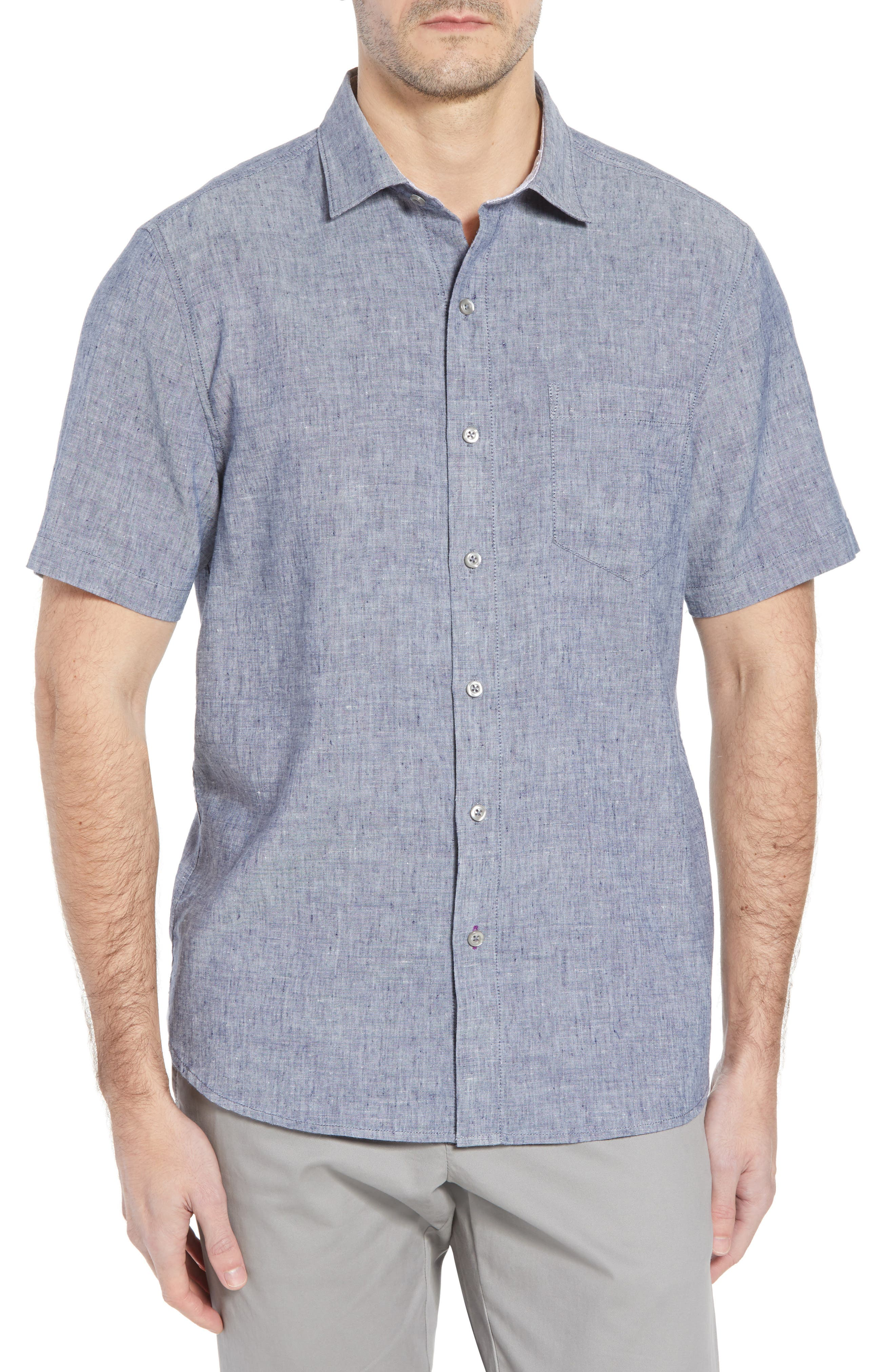 Lanai Tides Linen Blend Sport Shirt,                         Main,                         color, THRONE BLUE