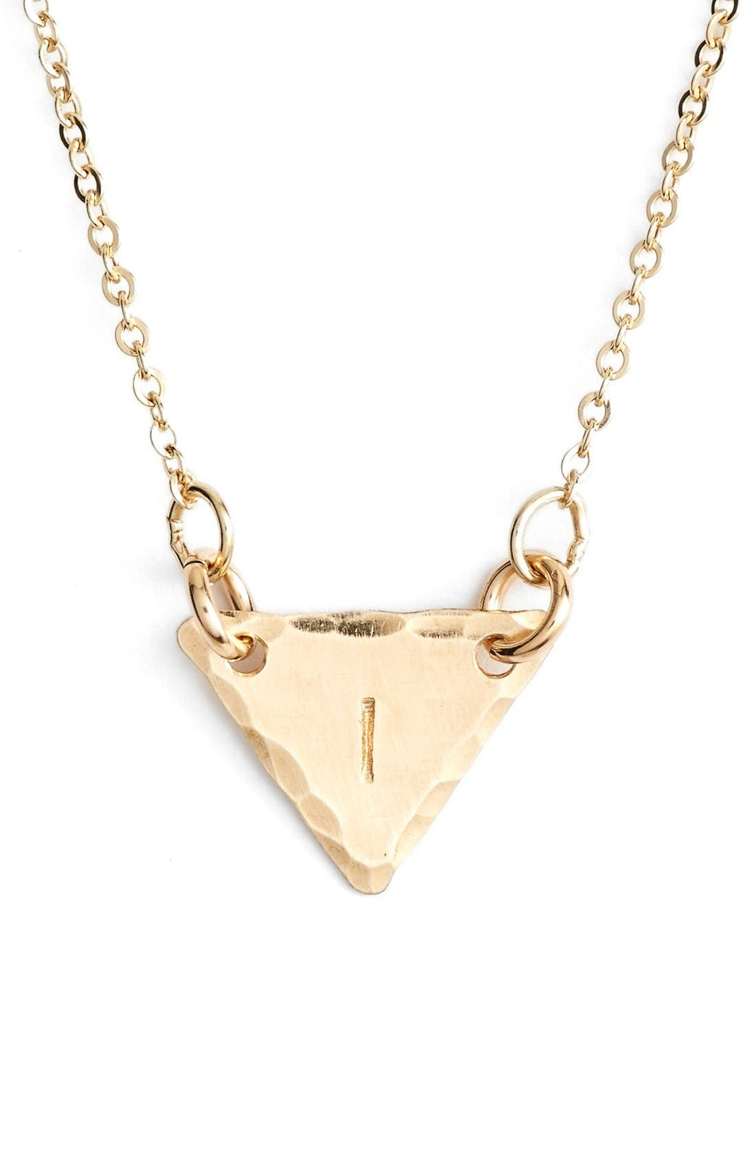 14k-Gold Fill Initial Triangle Necklace,                             Main thumbnail 9, color,