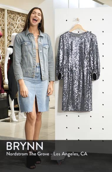 Blouson Sleeve Sequin Sheath Dress, sales video thumbnail